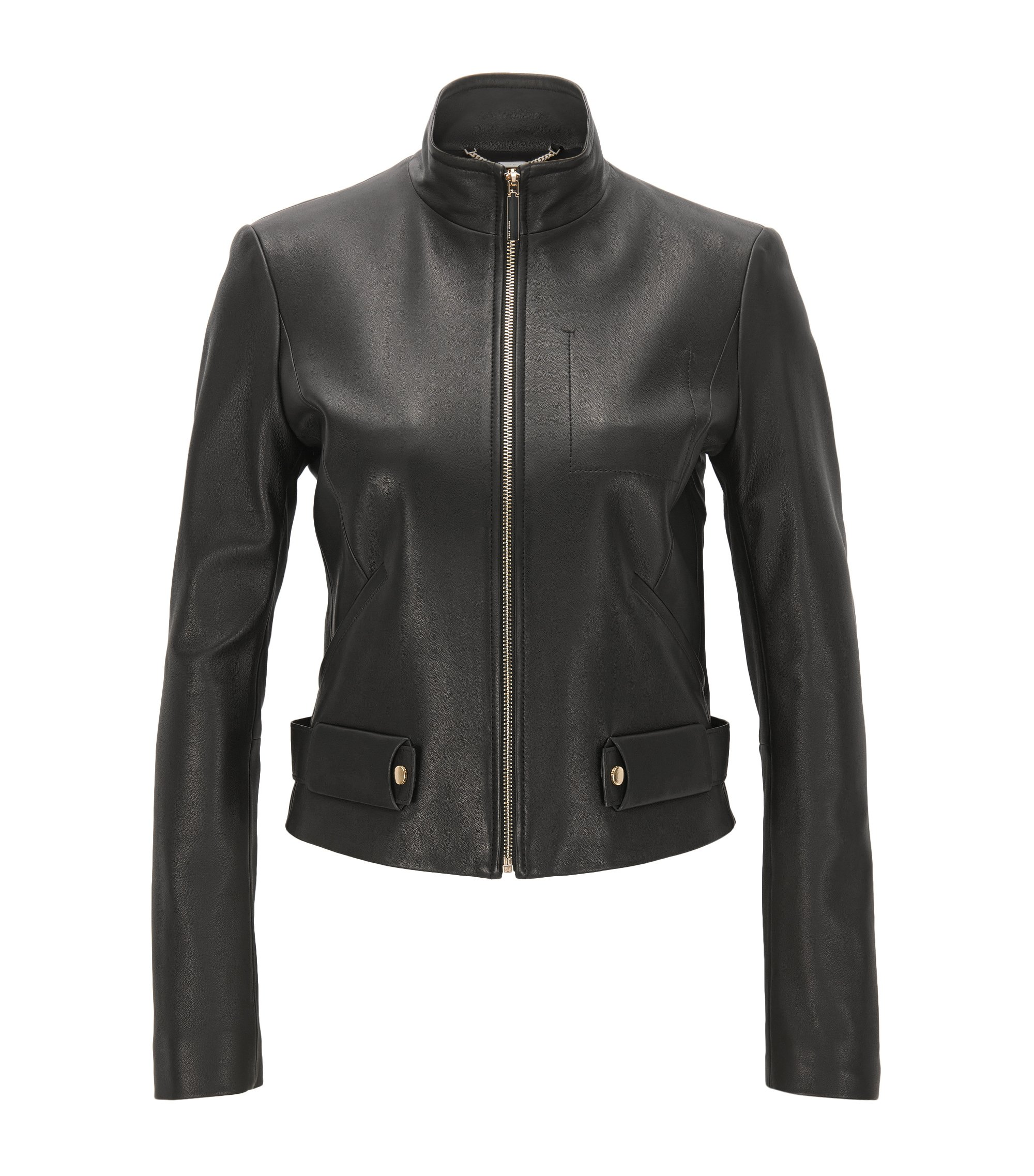 Lambskin Leather Jacket | Sanuvo, Black
