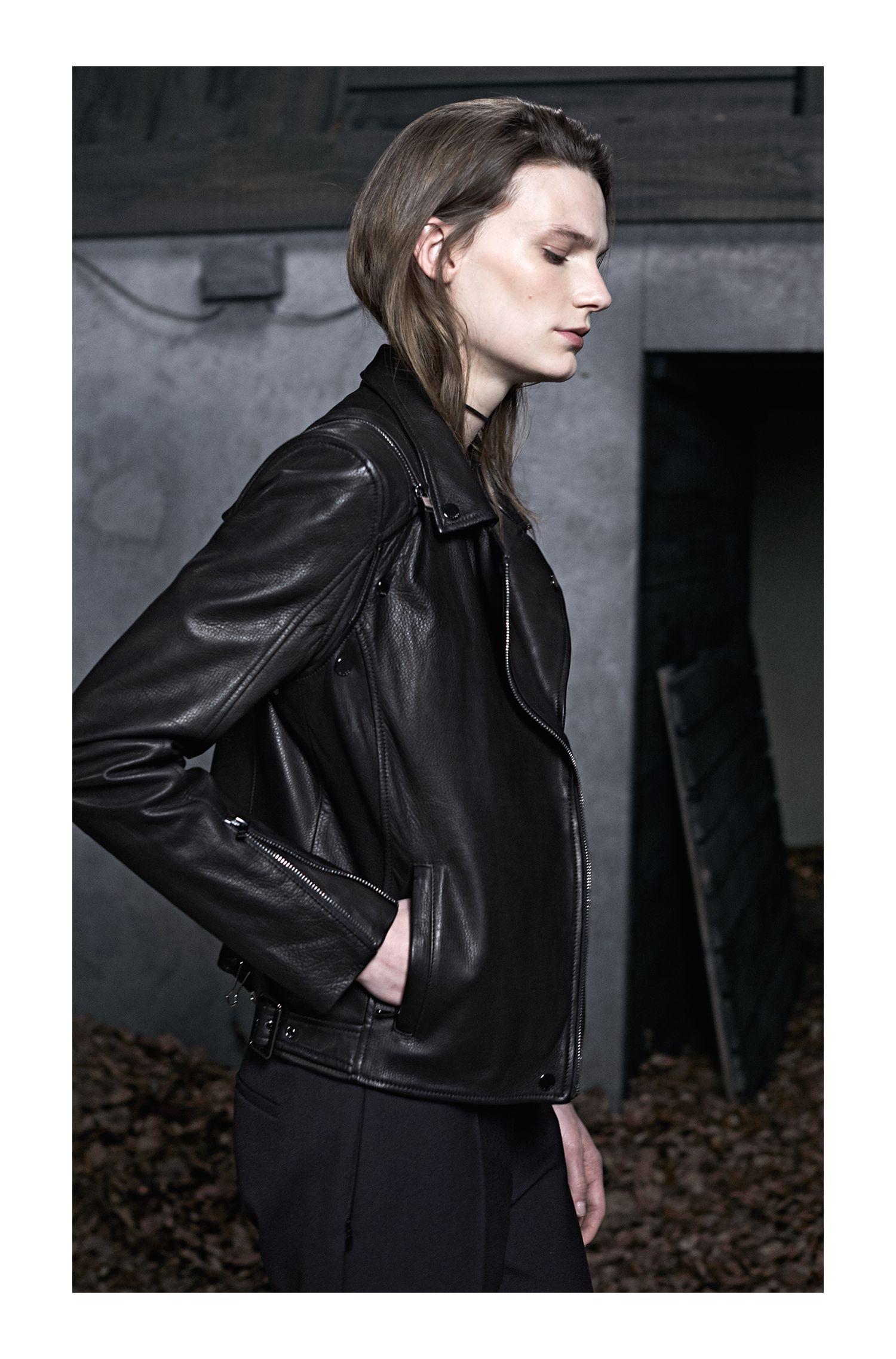 Leather Moto Jacket | Levana, Black
