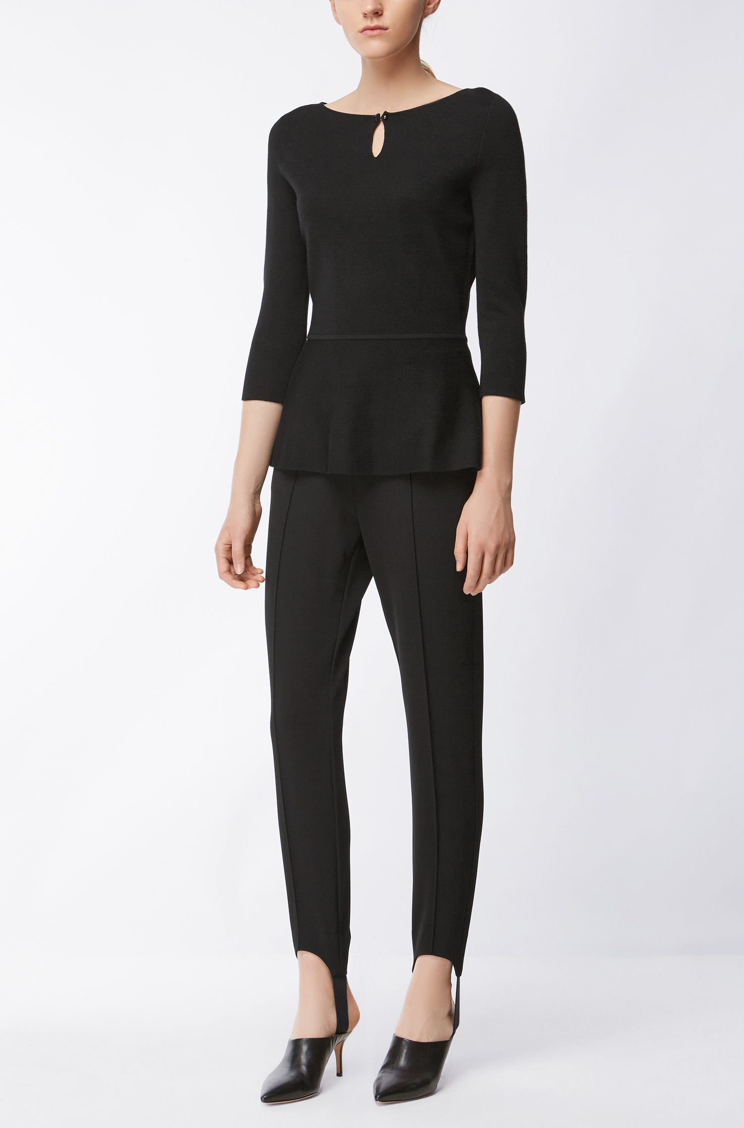 Superfine Merino Wool Peplum Top | Fylle, Black