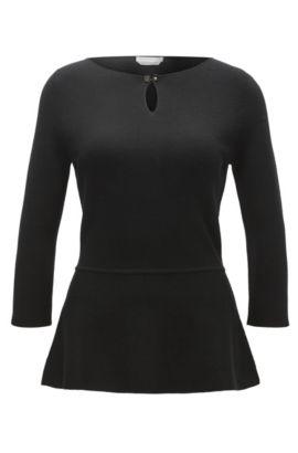 Superfine Merino Wool Peplum Top | Fylle, Black