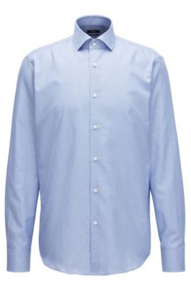Textured Cotton Dress Shirt, Regular Fit | Gordon , Blue