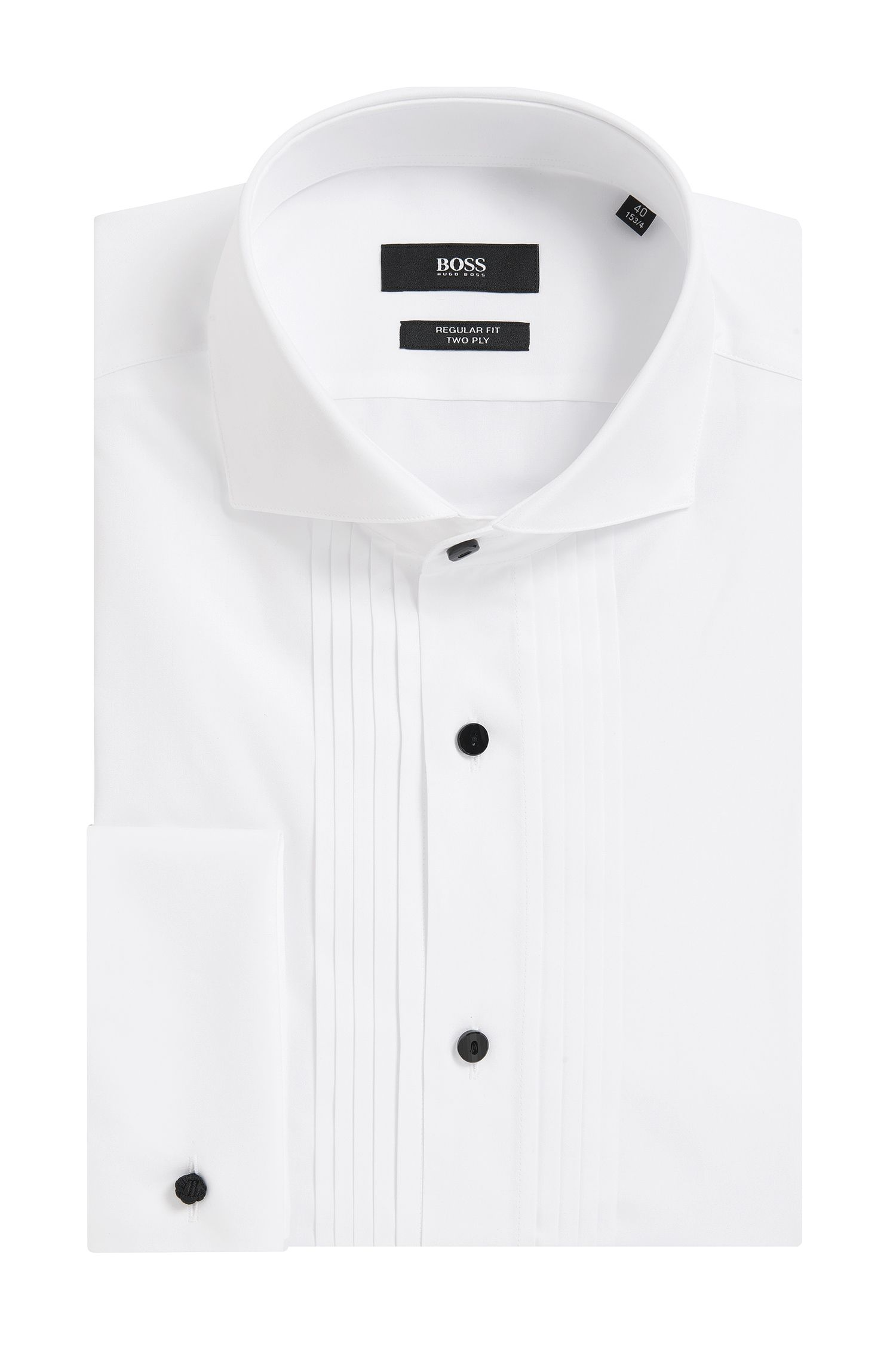 Pleated Cotton Dress Shirt, Regular Fit | George, White