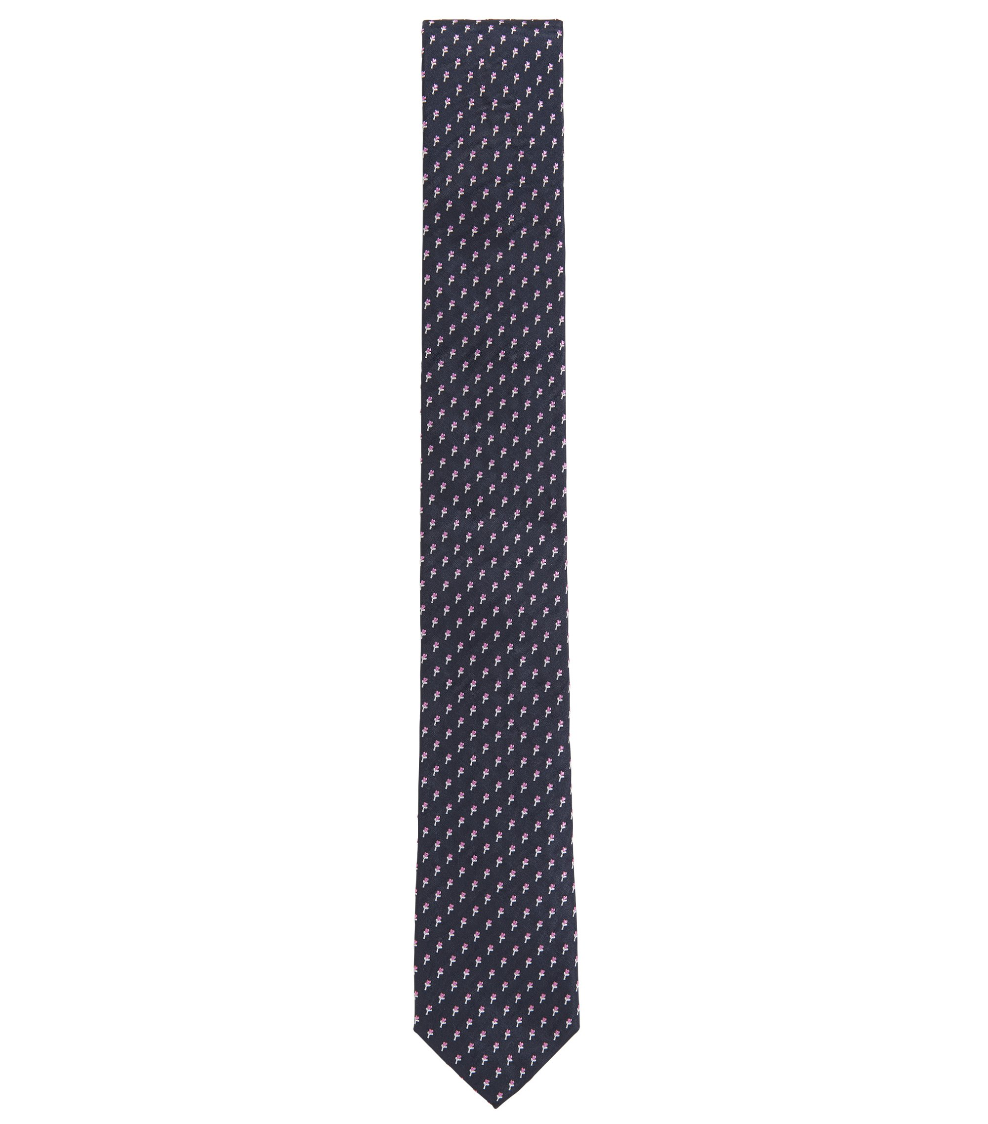 Floral-Embroidered Italian Silk Slim Tie, Dark Blue