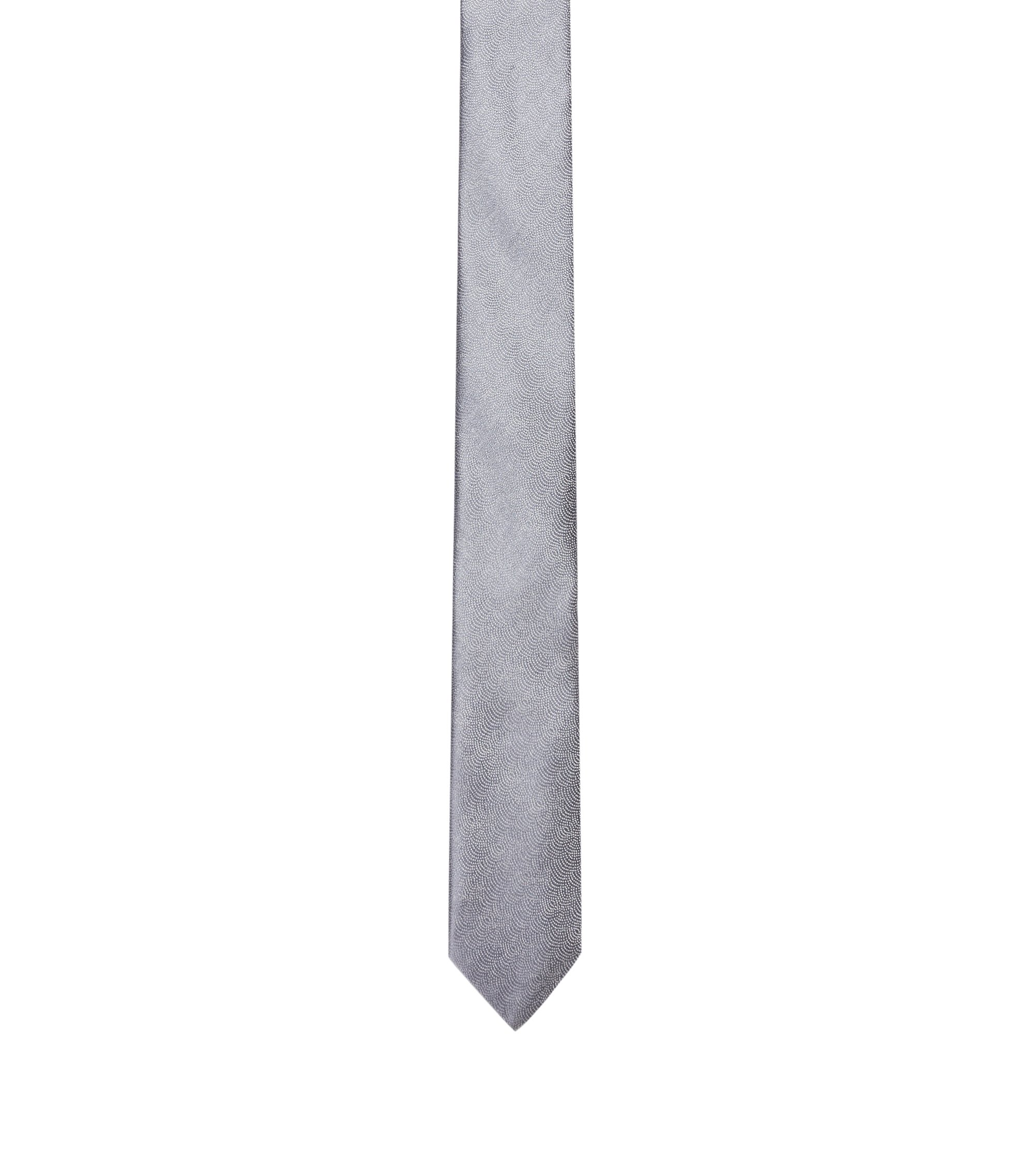Scalloped Micro-Dot Printed Italian Silk Slim Tie, Grey
