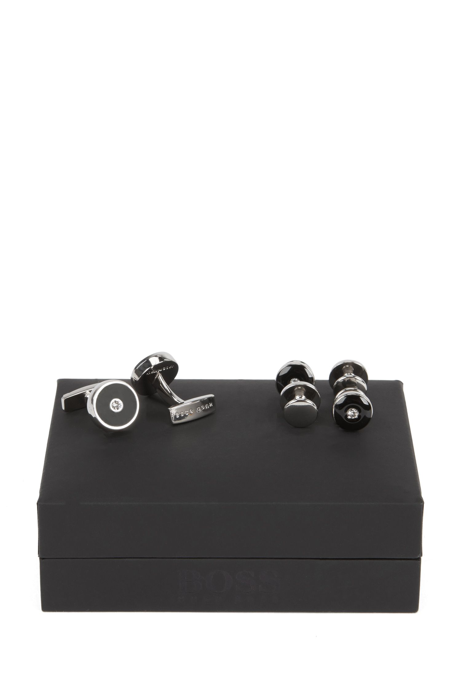 Round hand-polished brass and enamel cufflinks and studs gift set, Black