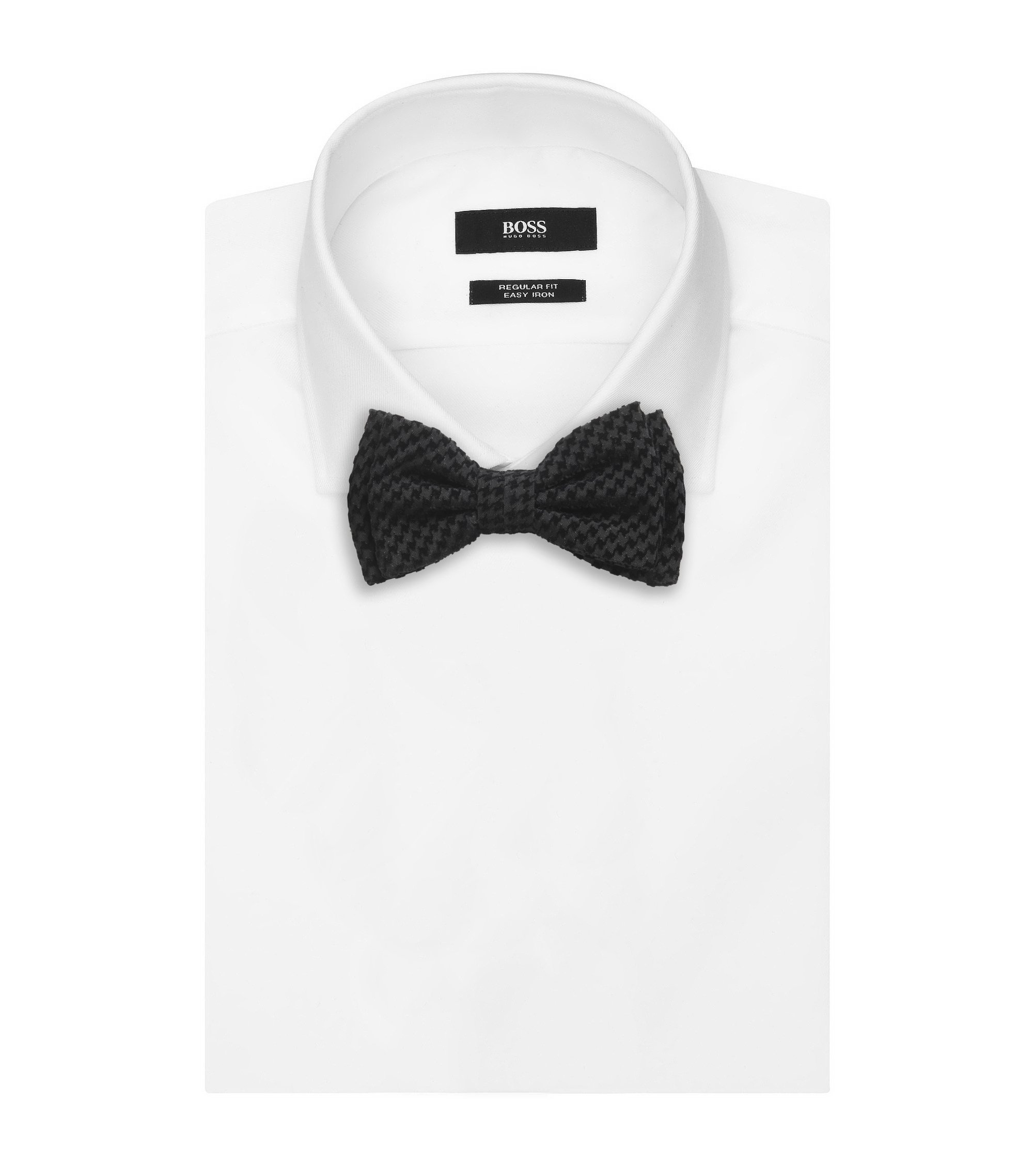 Houndtooth Velvet Bow Tie , Black
