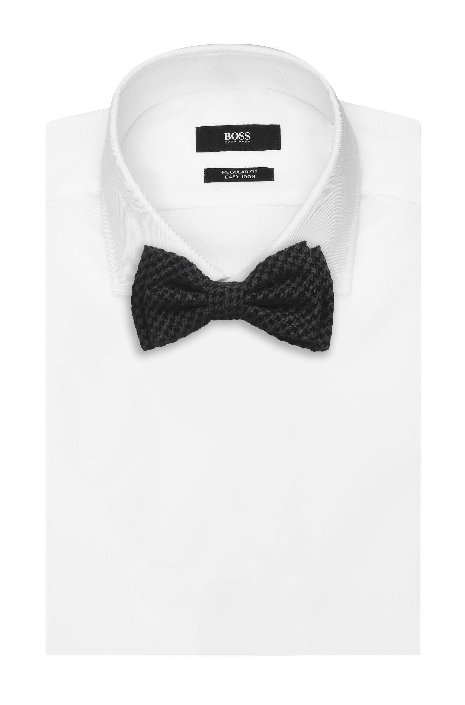 Houndstooth Velvet Bow Tie , Black