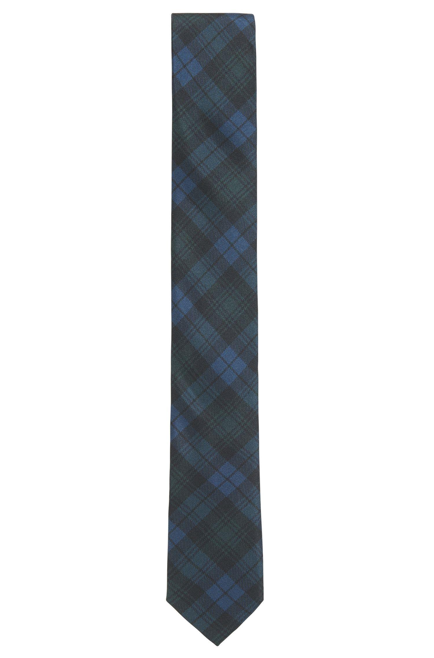 Black Watch Plaid Italian Silk Slim Tie, Open Green