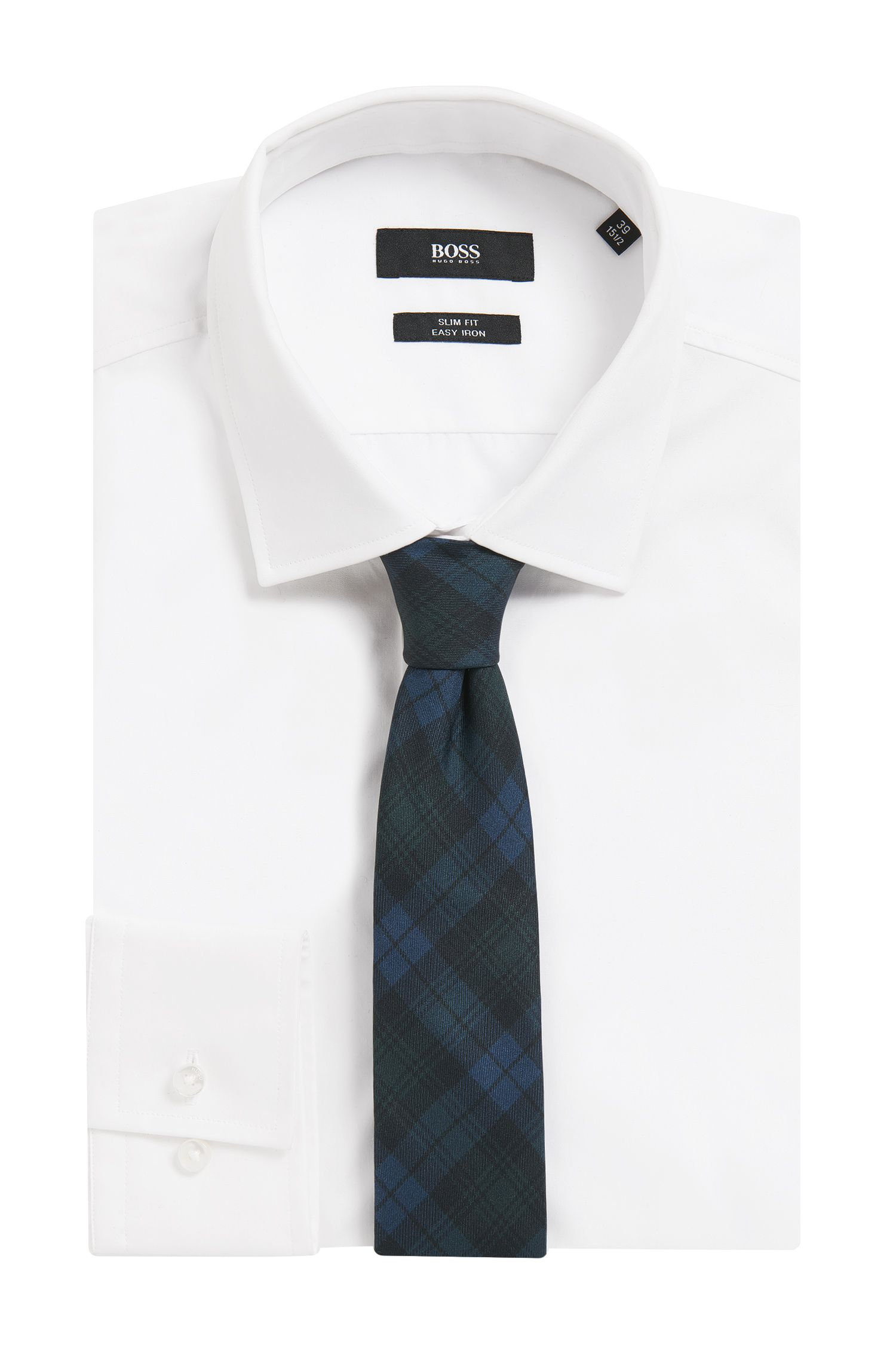 Black Watch Plaid Italian Silk Slim Tie
