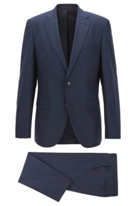 Stretch Virgin Wool Suit, Regular Fit | Johnstons/Lenon, Dark Blue
