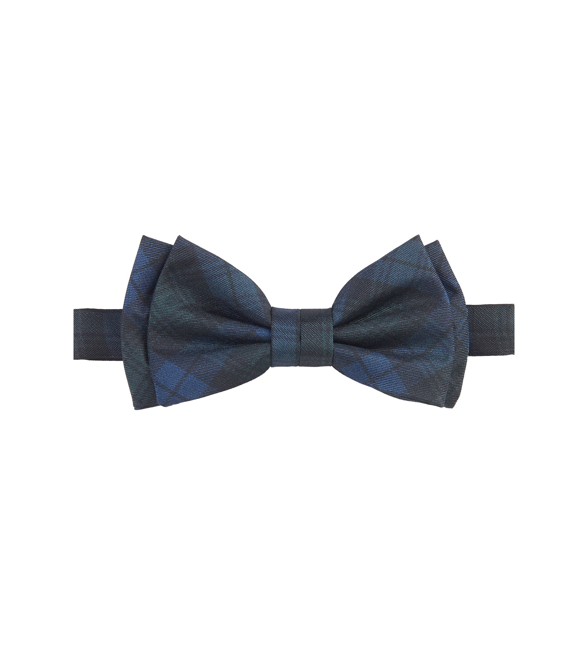 Black Watch Italian Silk Bow Tie, Open Green