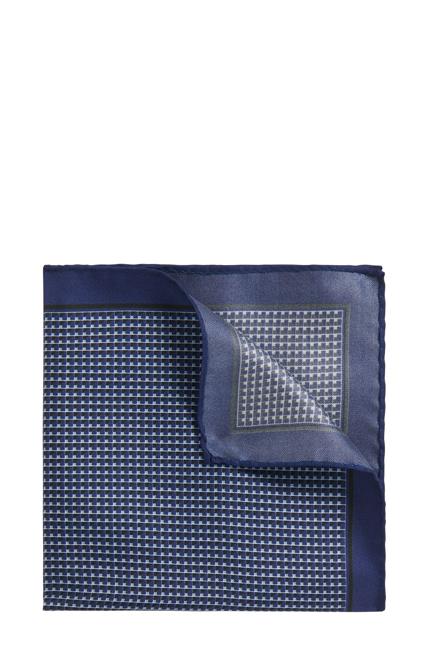 Patterned Italian Silk Twill Pocket Square, Dark Blue