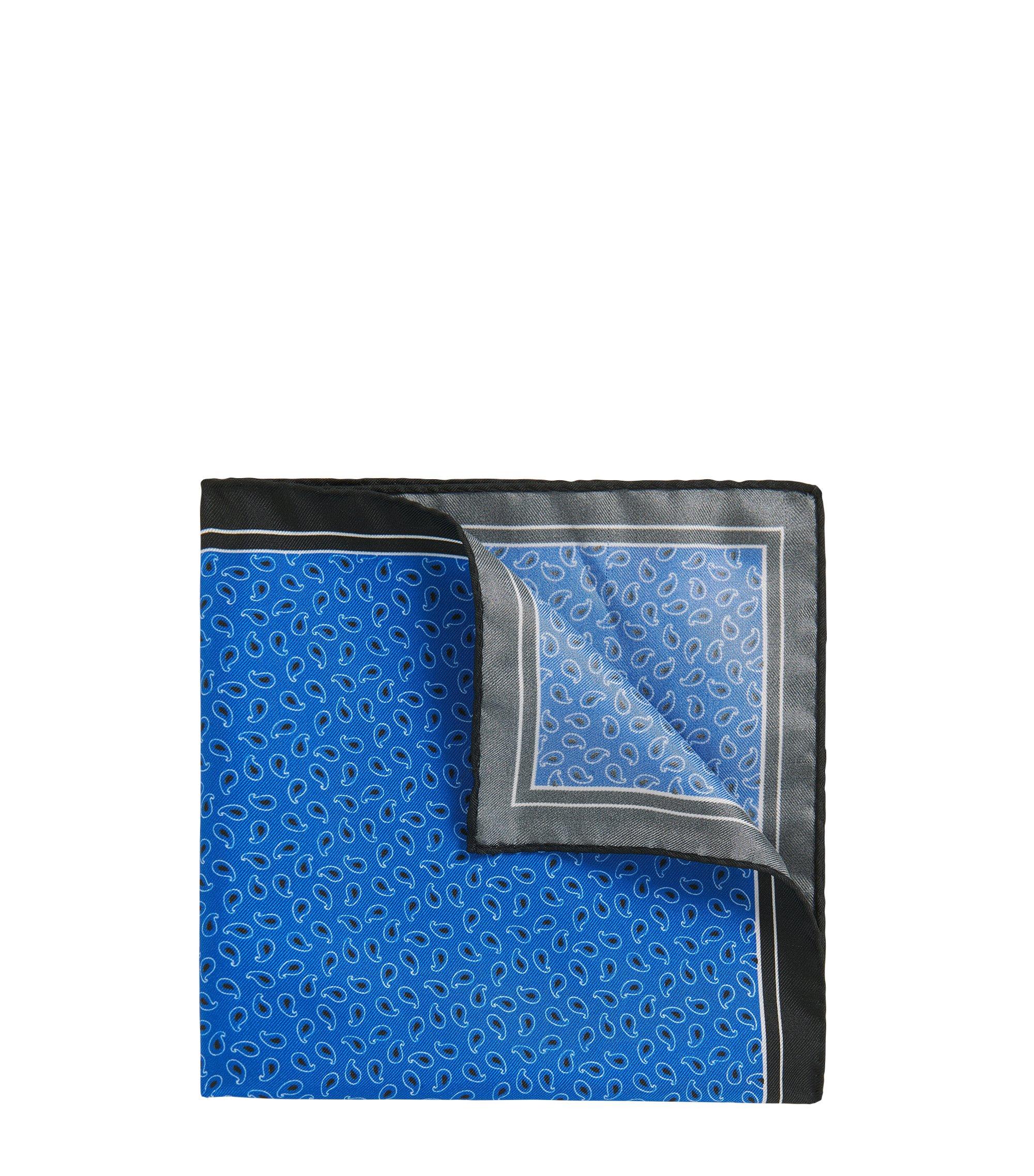 Patterned Italian Silk Twill Pocket Square, Blue