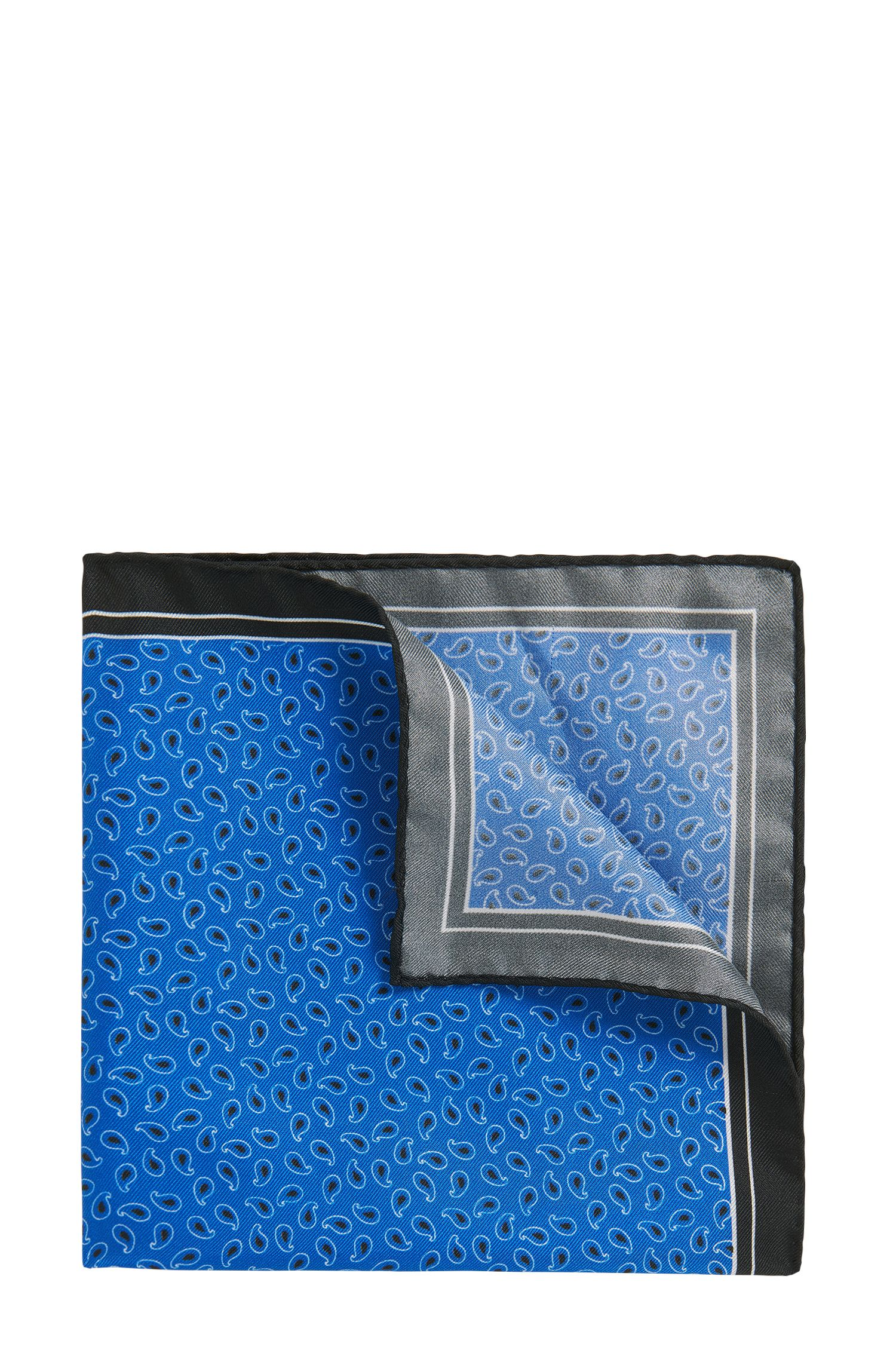 Patterned Italian Silk Twill Pocket Square, Blue