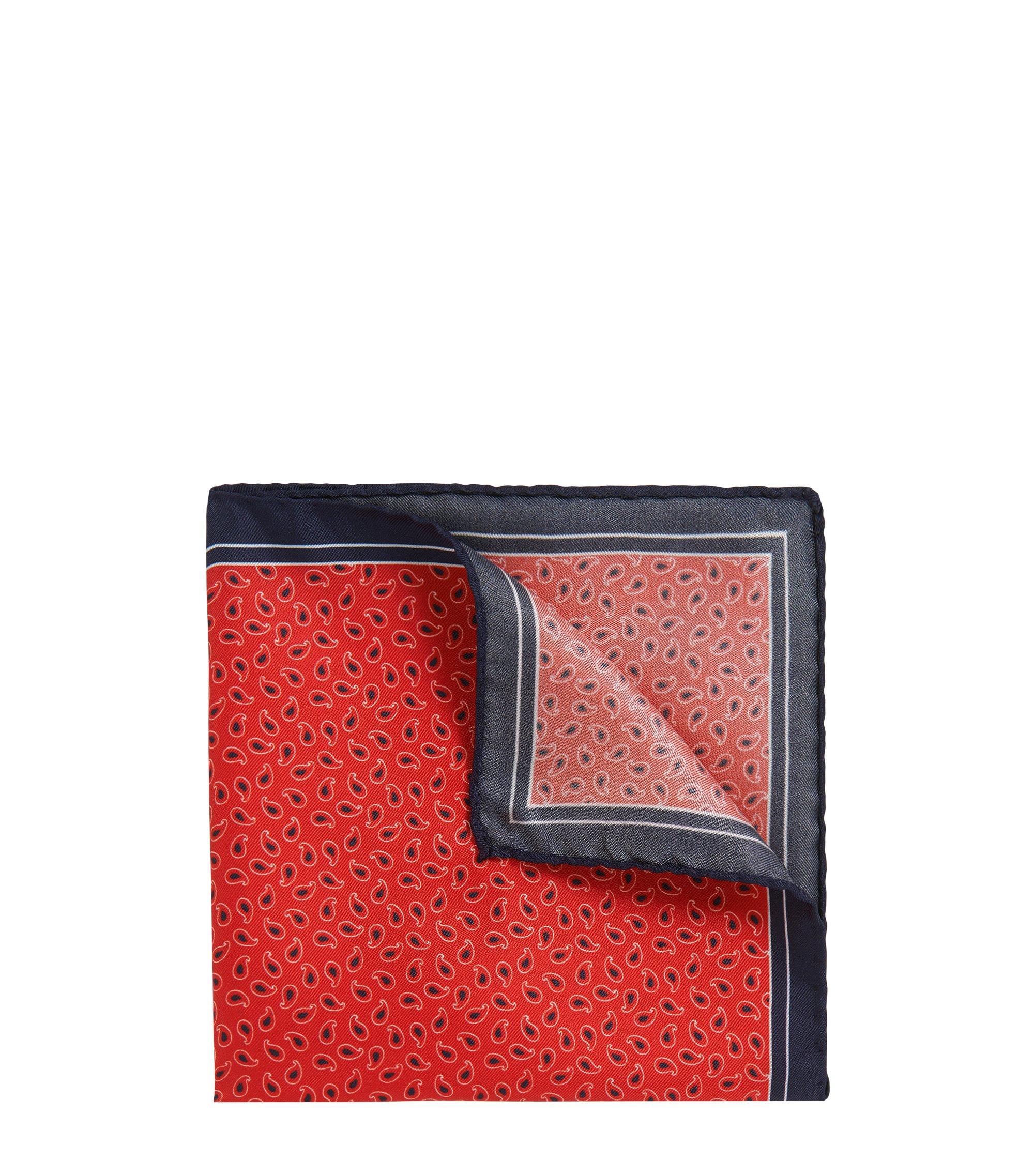 Patterned Italian Silk Twill Pocket Square, Red