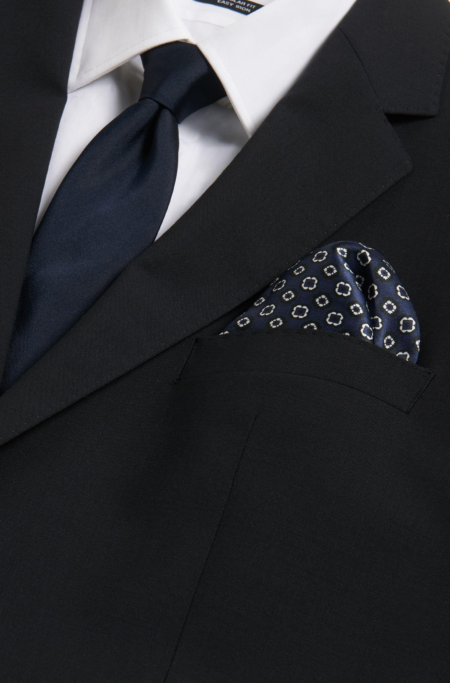 Tile-Patterned Italian Silk Pocket Square, Dark Blue