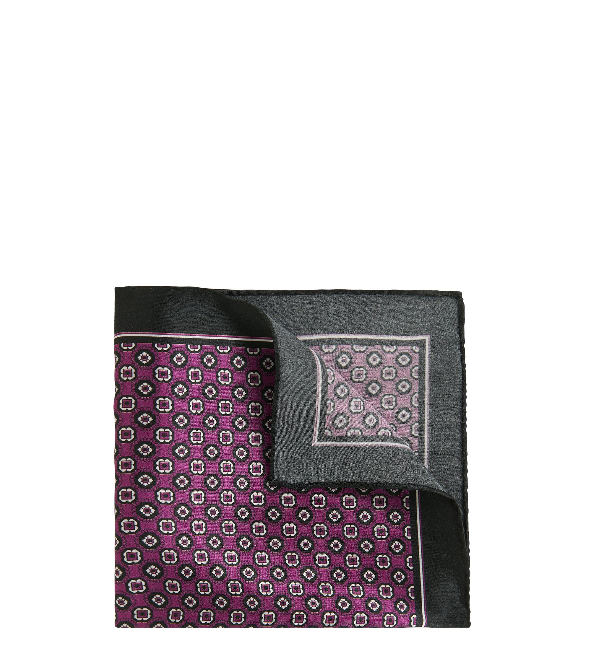 Tile-Patterned Italian Silk Pocket Square, Dark pink