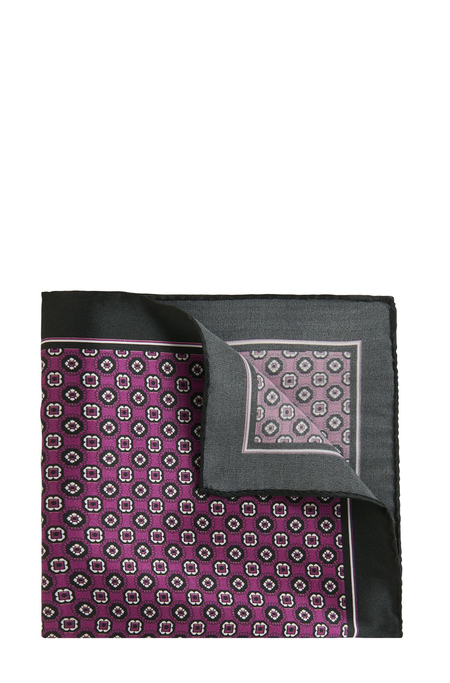 Tile-Patterned Italian Silk Pocket Square