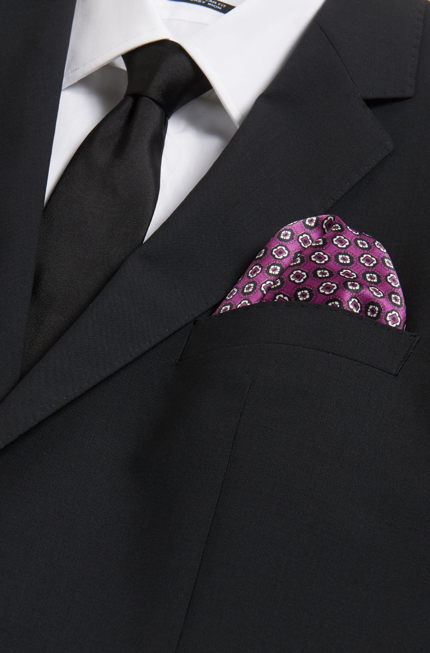 Tile-Patterned Italian Silk Pocket Square, Dark pink