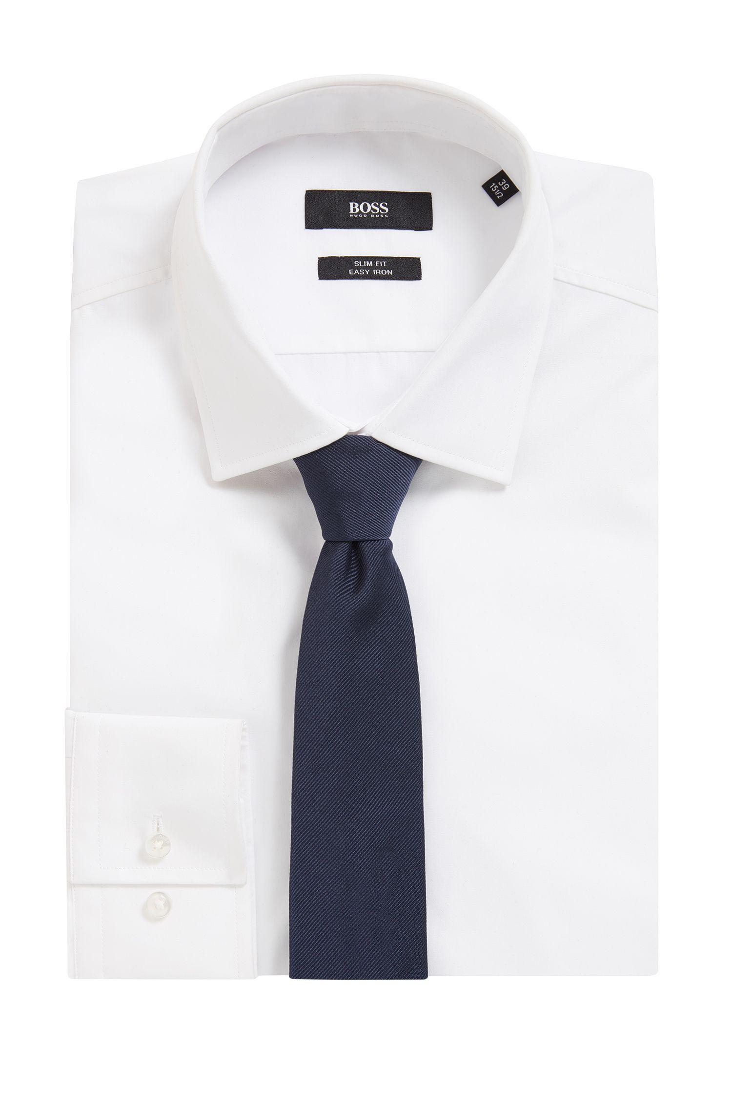 BOSS Tailored Italian Silk Twill Slim Tie, Dark Blue