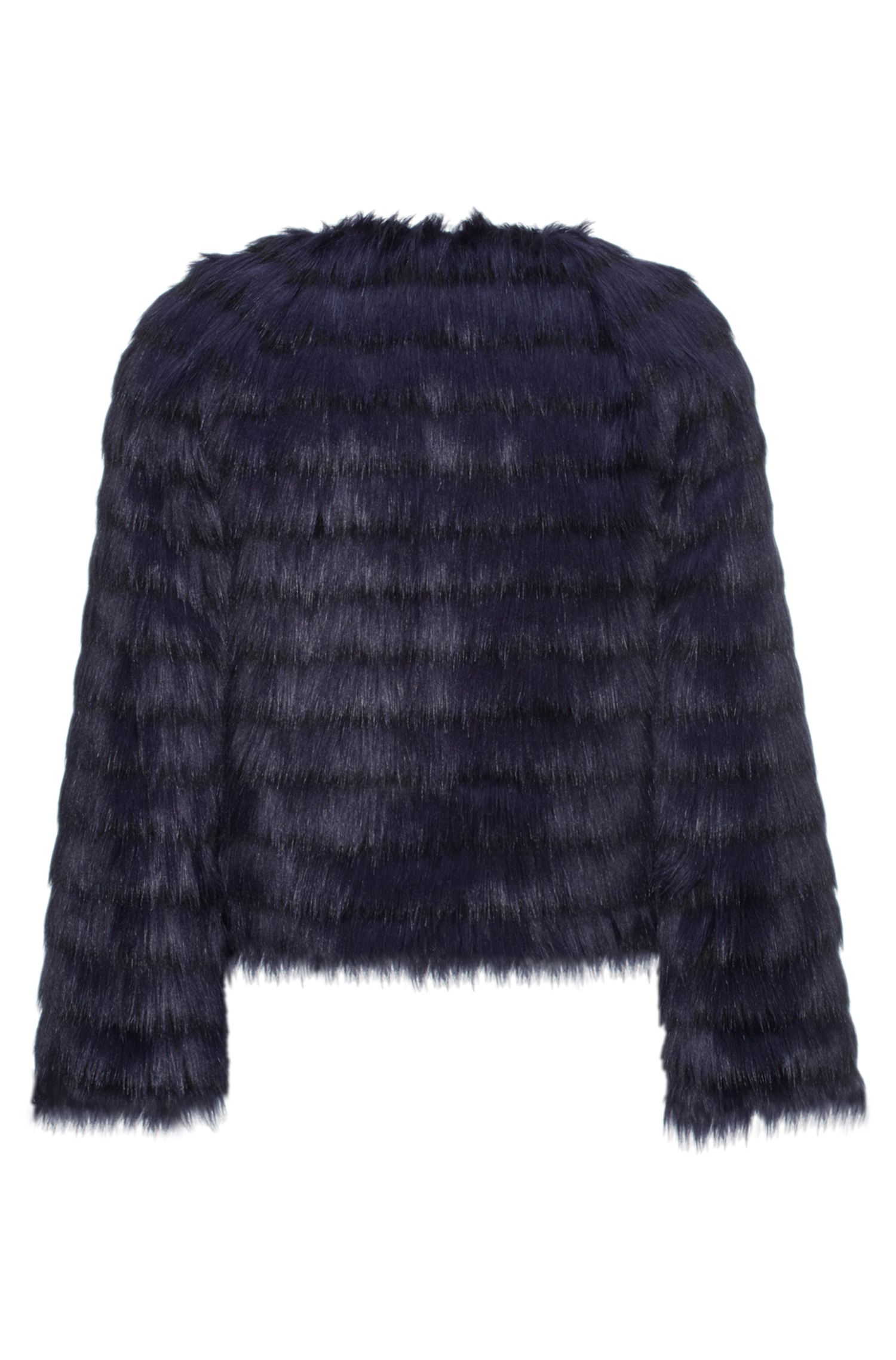Faux Fur Jacket | Fleurin, Dark Blue