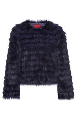 Faux Fur Jacket | Fleurin, Dark Blue