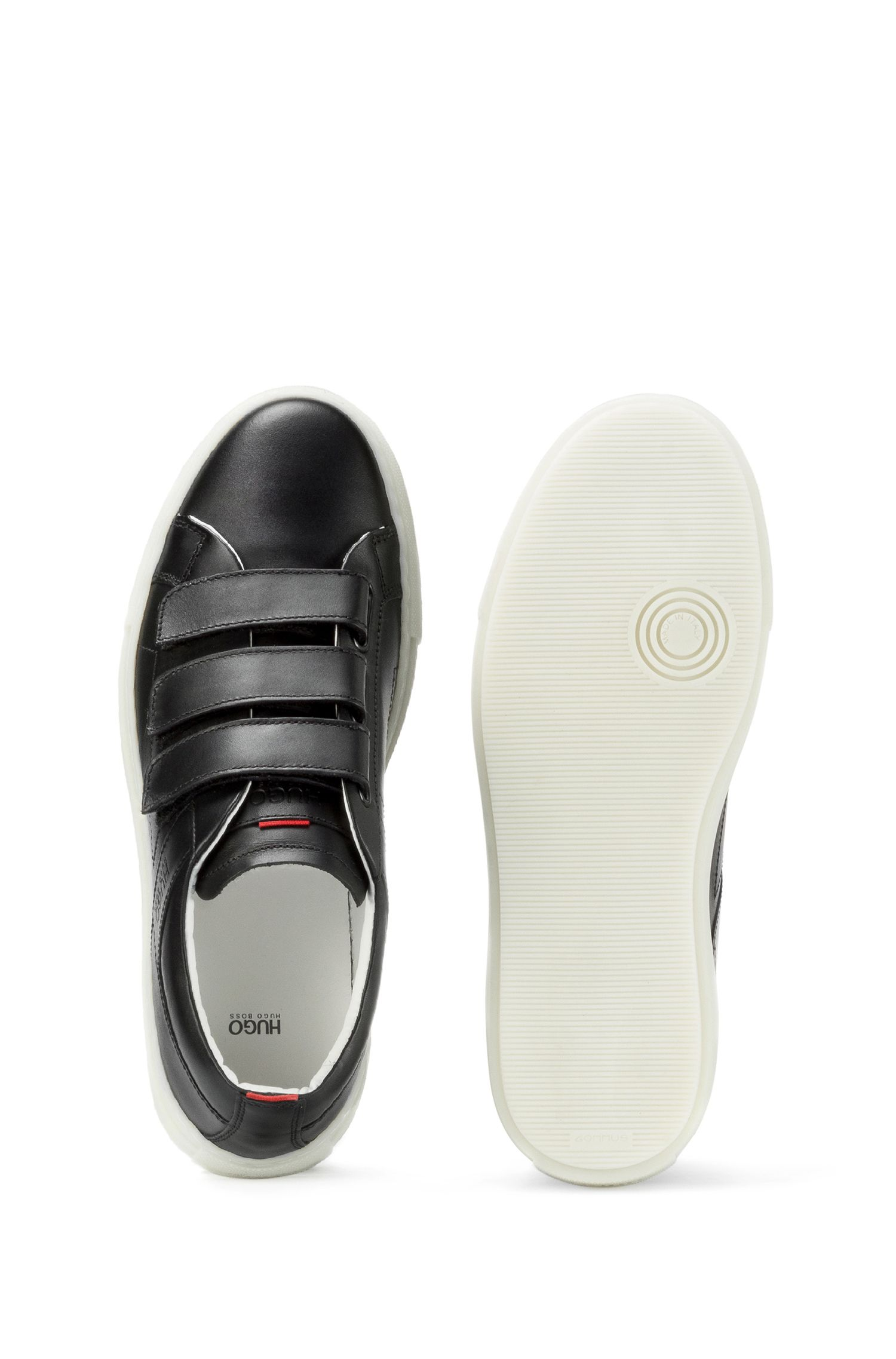 Leather Velcro Low-Top Sneaker | Hackney C, Black
