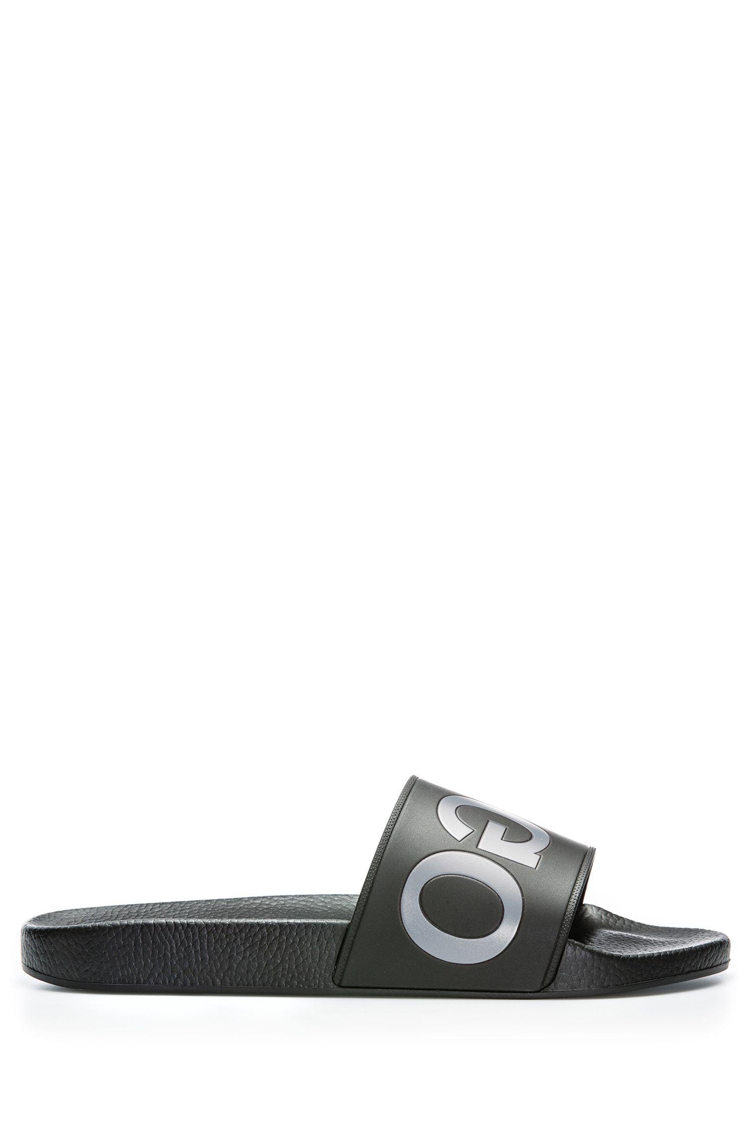 Rubber Slip-On Sandals | Timeout Slip RB, Black
