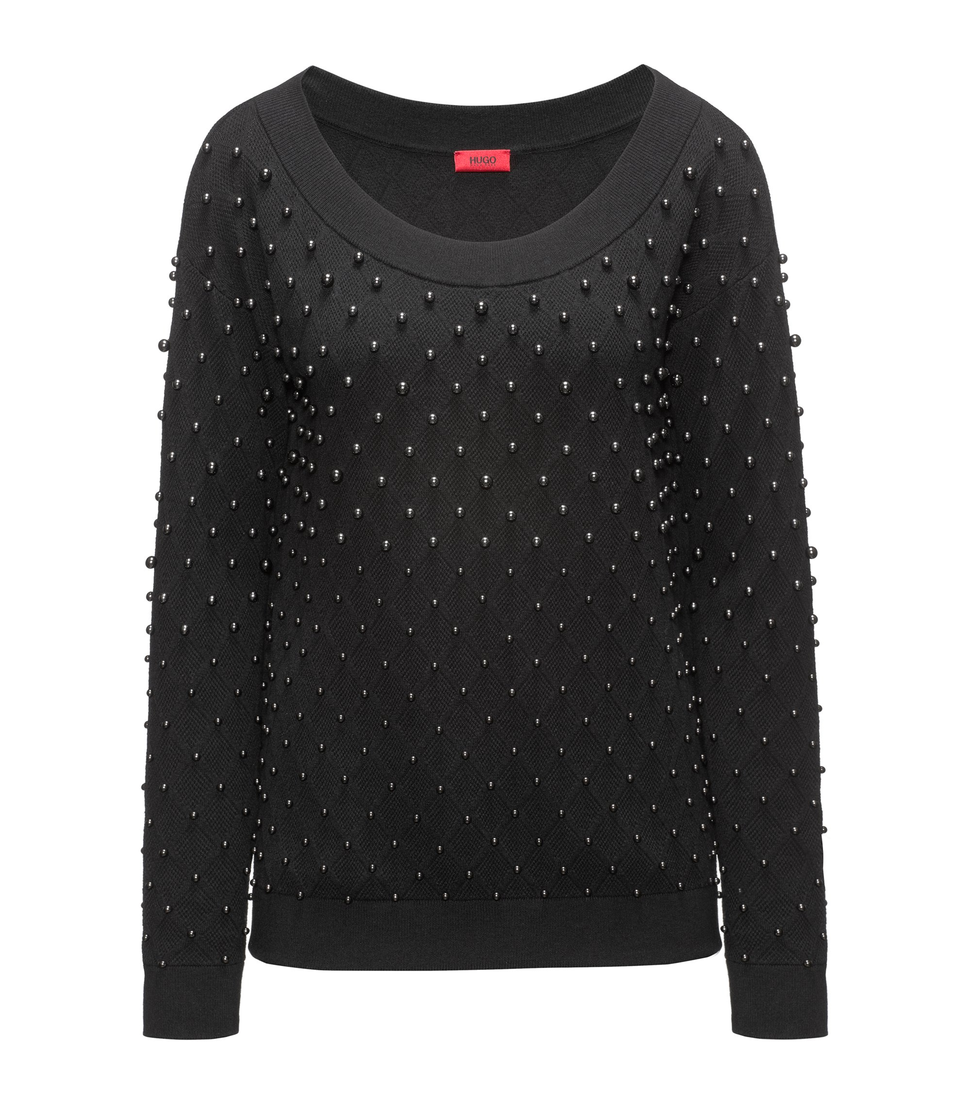 Embellished Cotton-Wool-Silk Sweater | Sempera, Black