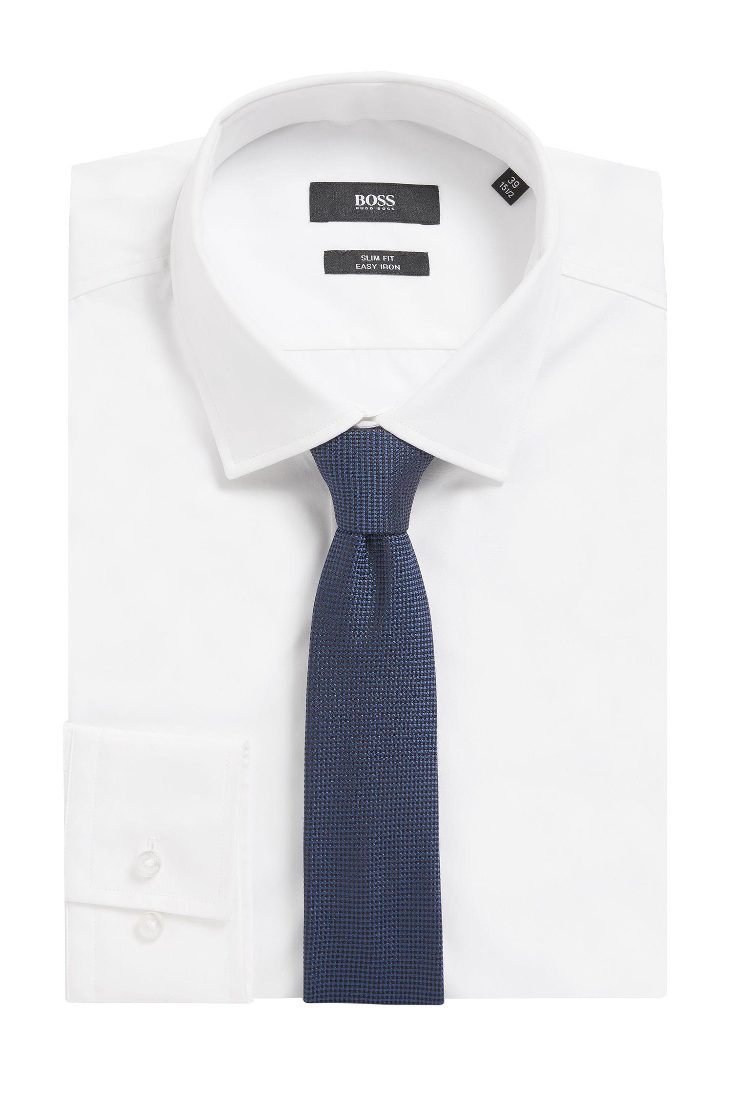 Nailhead Italian Silk Slim Tie , Dark Blue