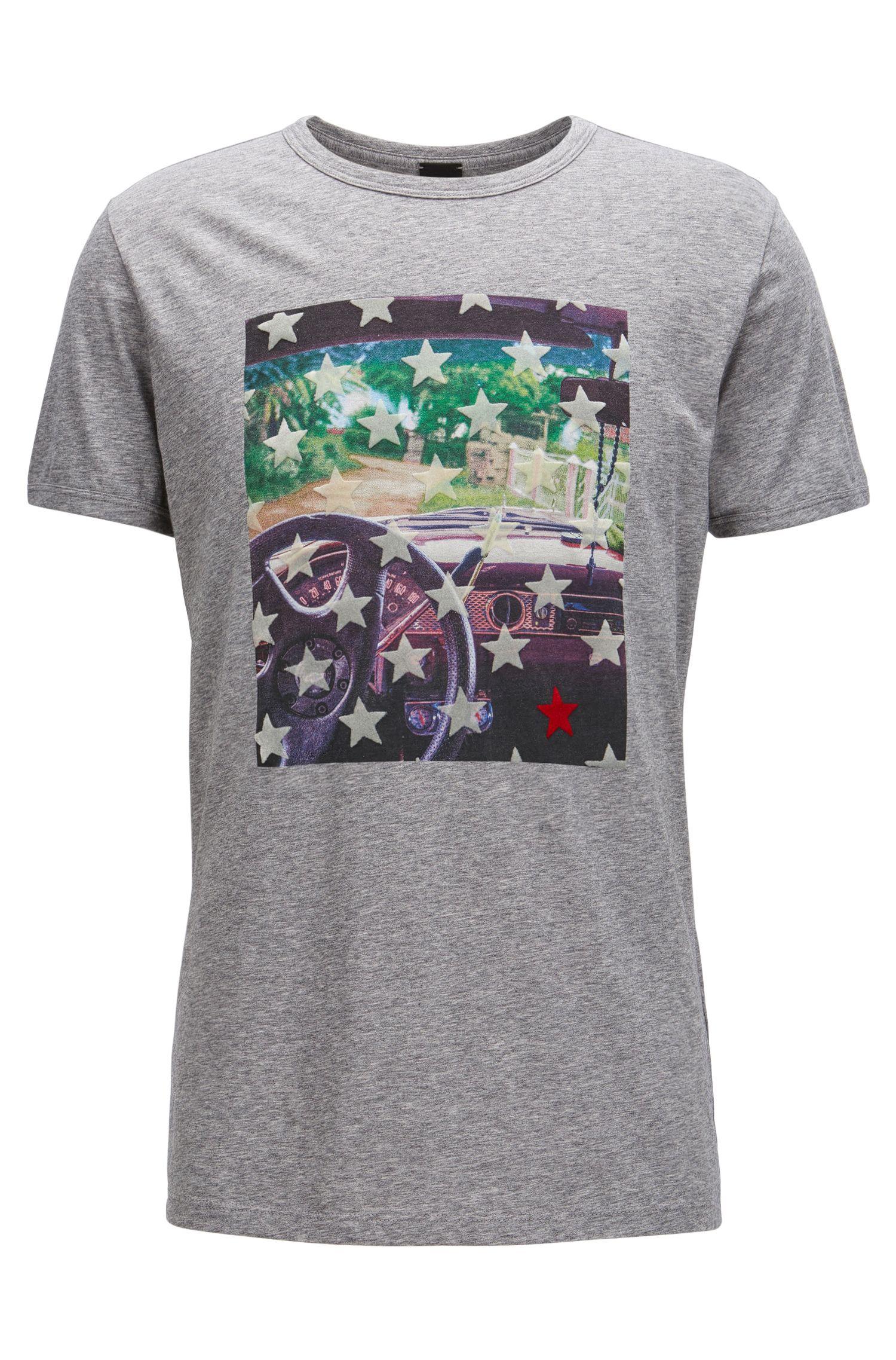 Cotton Graphic T-Shirt | Turbulent, Light Grey