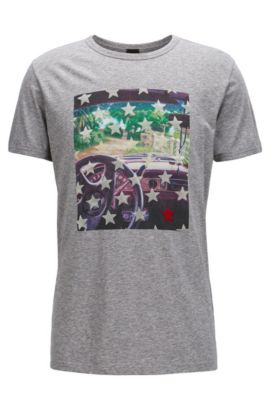 Cotton Graphic T-Shirt | Turbulent, Light Grey