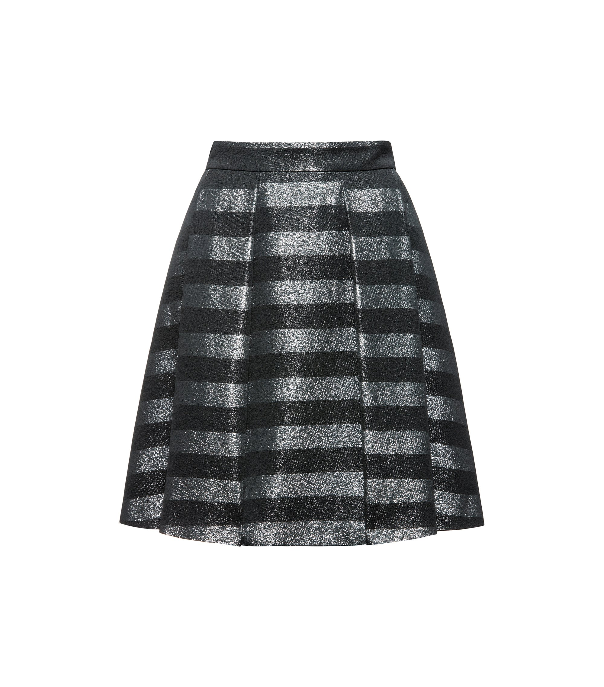 Metallic Striped Skirt | Rizalia, Black