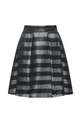 Metallic Striped Skirt | Rizalia, Black