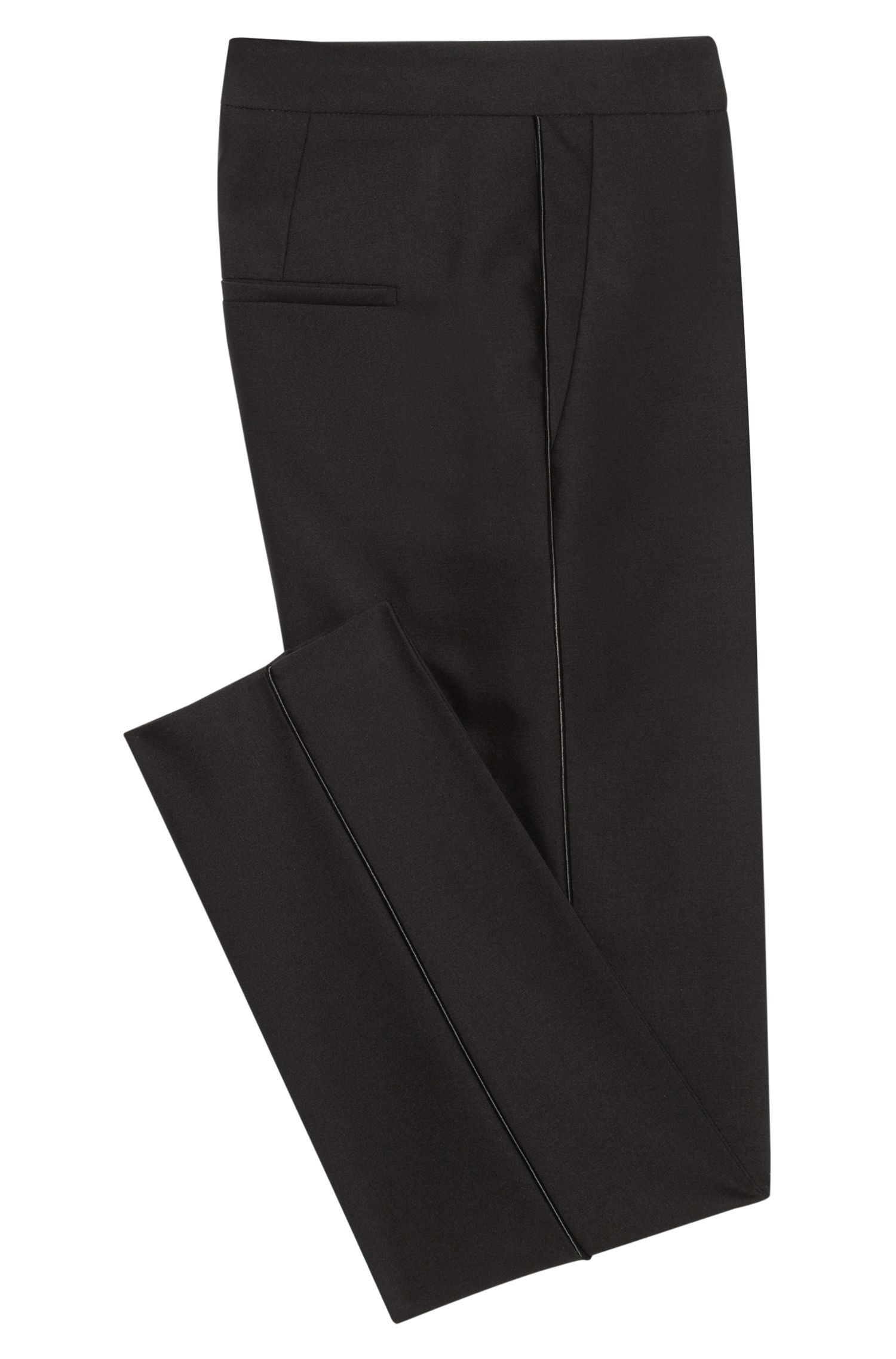 Wool-Cotton Cropped Tuxedo Pant | Hokelly