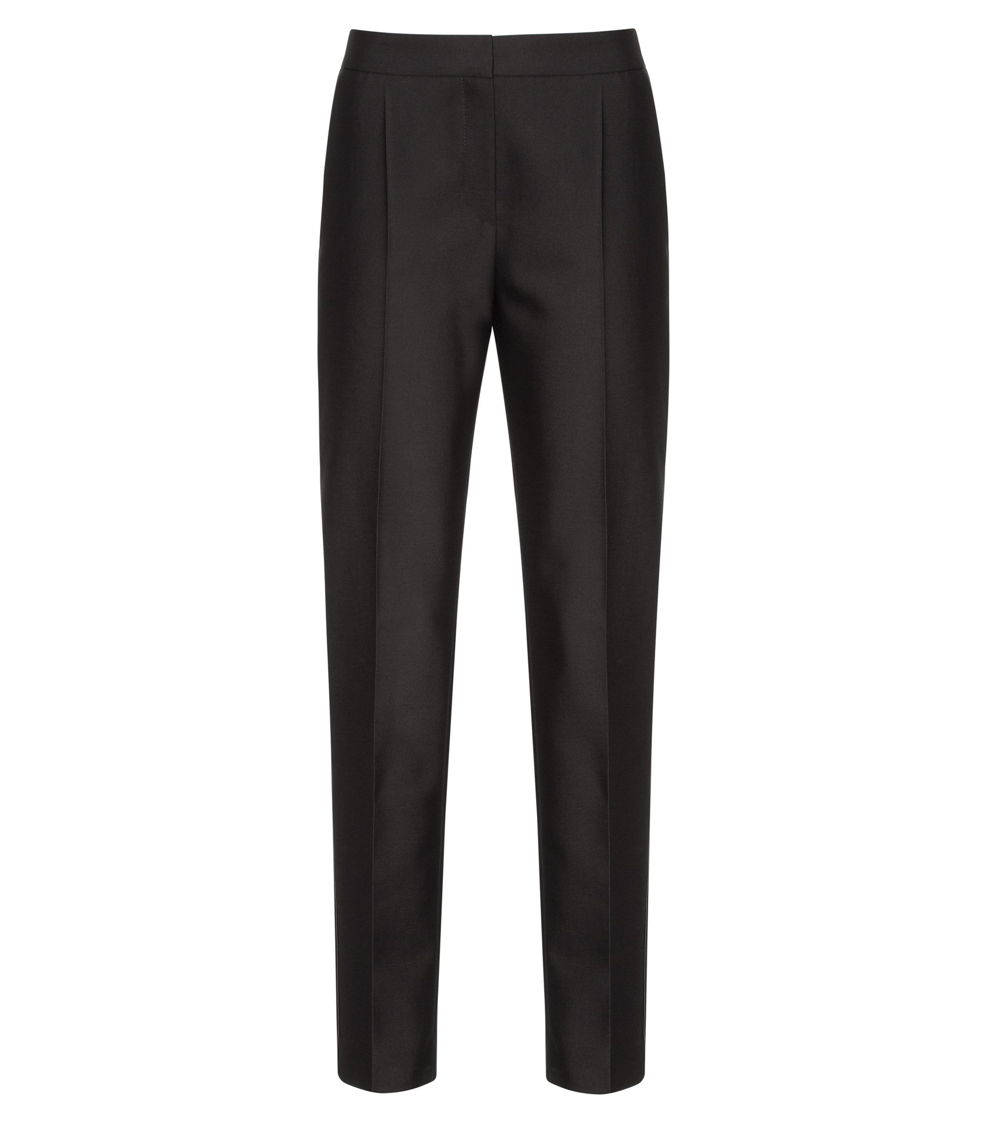 Wool-Cotton Cropped Tuxedo Pant | Hokelly, Black