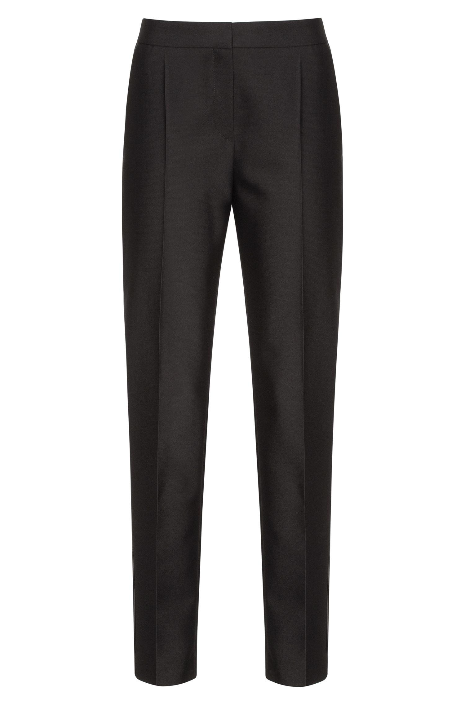 Wool-Cotton Cropped Tuxedo Pant | Hokelly