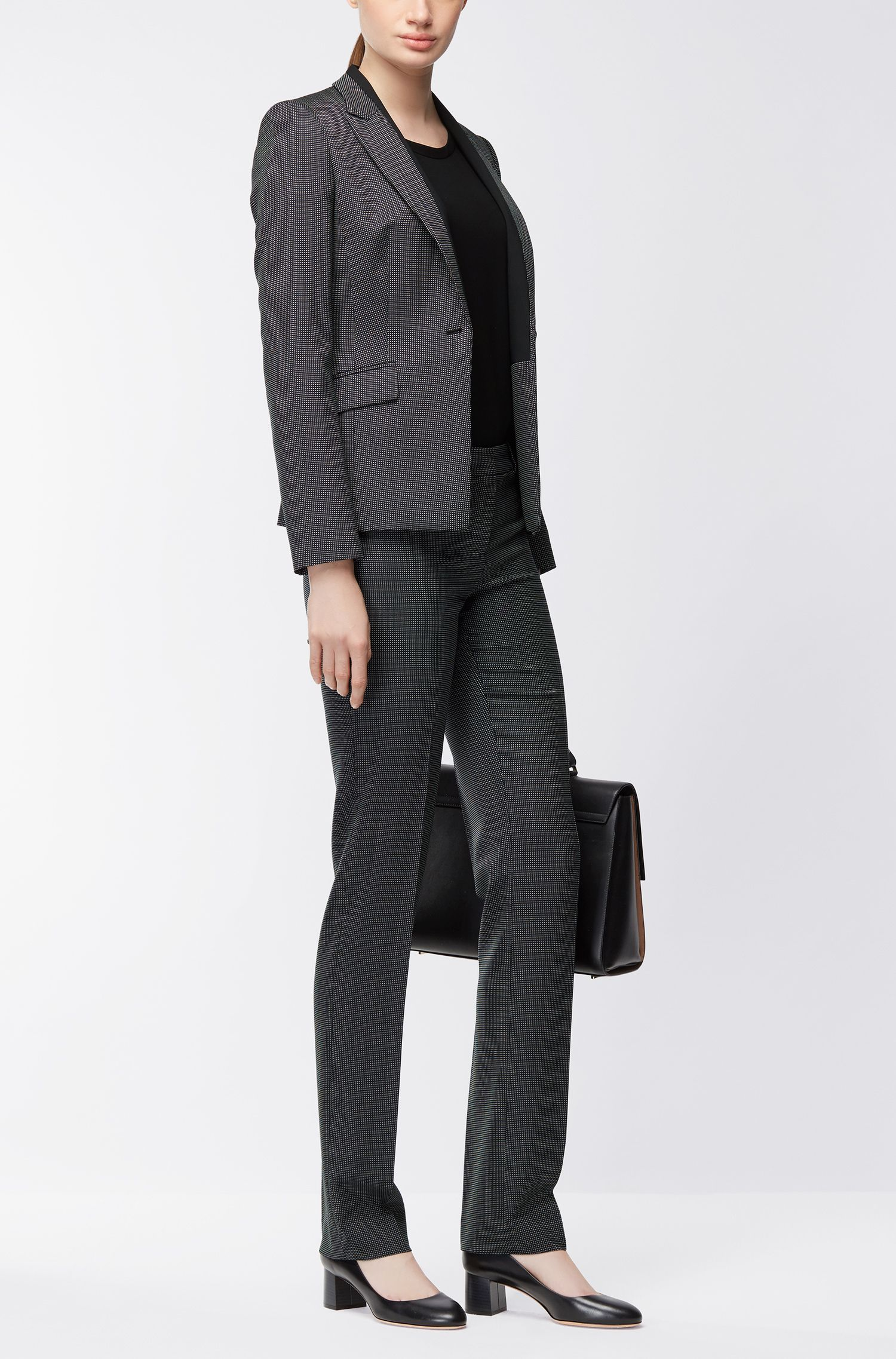 Nailhead Stretch Wool Blazer | Jeresa , Patterned