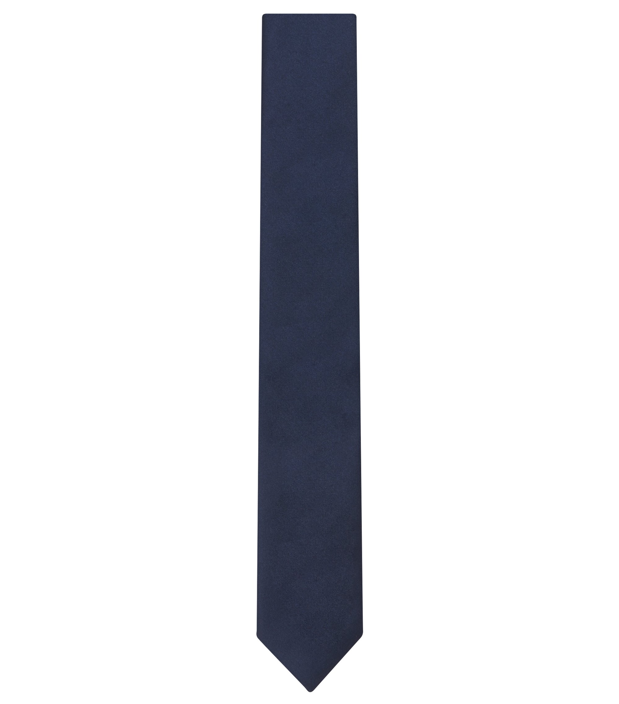 Italian Silk Slim Tie, Dark Blue