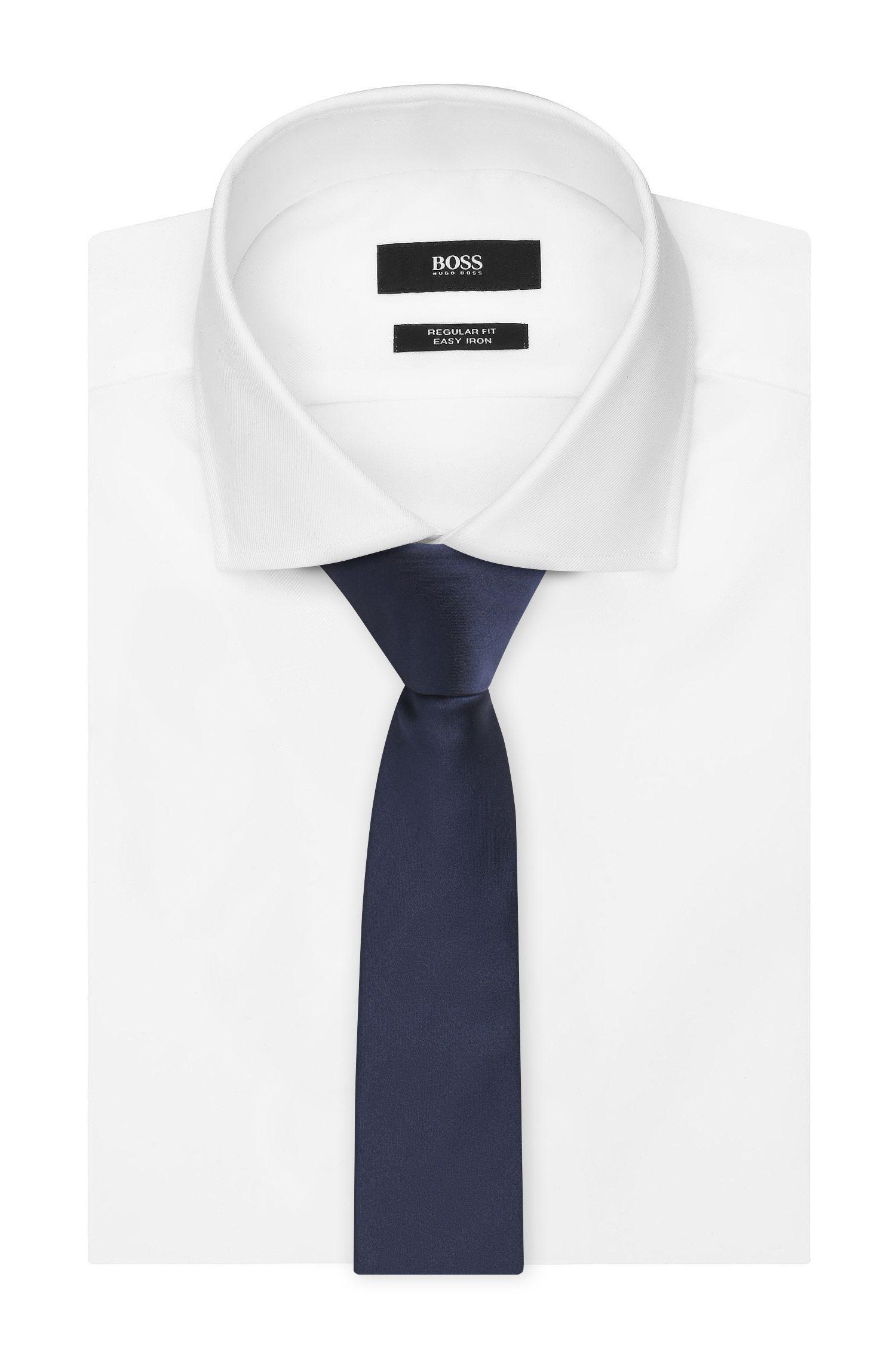 Italian Silk Slim Tie, Dark Blue