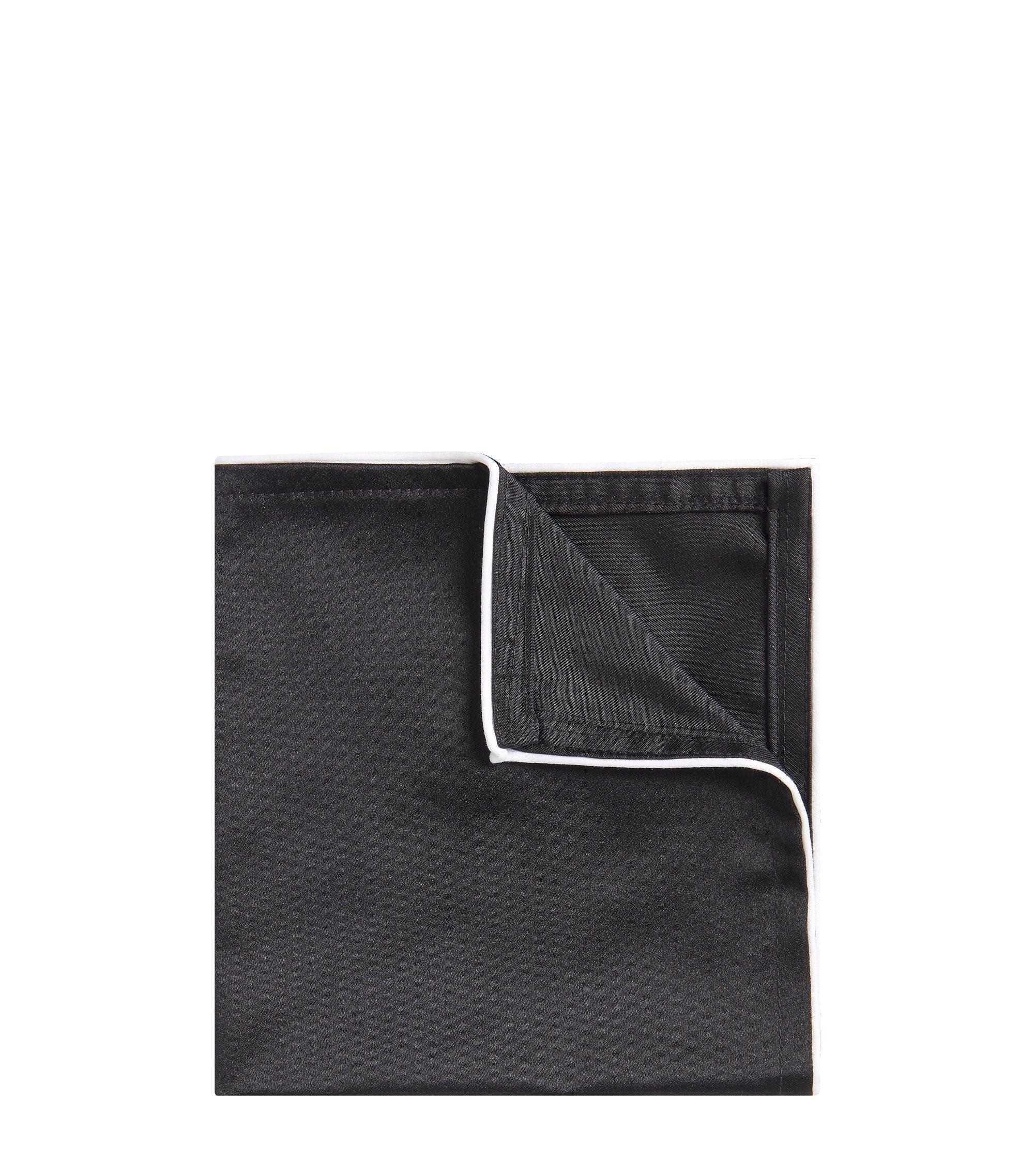 Piped Italian Silk Pocket Square, Black