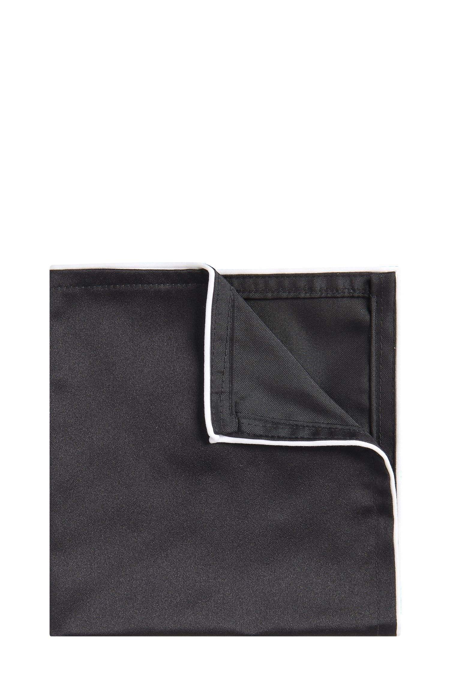 Piped Italian Silk Pocket Square, Black
