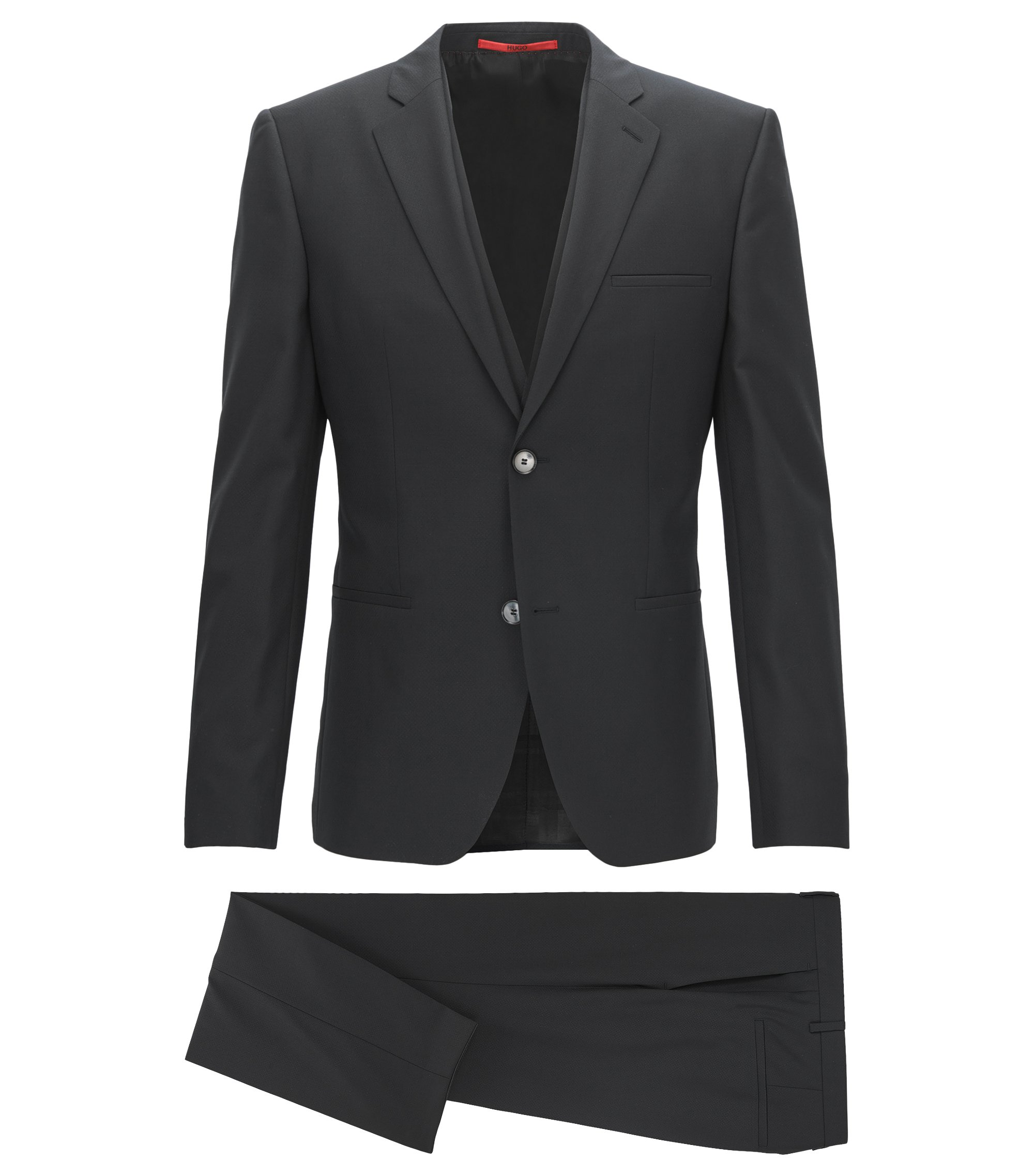 Stretch Virgin Wool Suit, Extra Slim Fit | Arnin/Wilardo/Hermin, Black