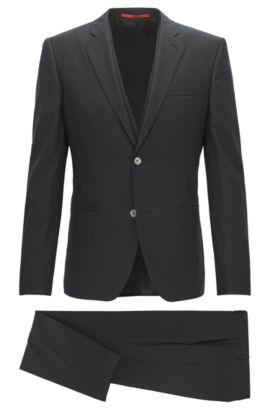 Stretch Virgin Wool Suit, Extra Slim Fit | Arnin/Wilardo/Hermin, Black