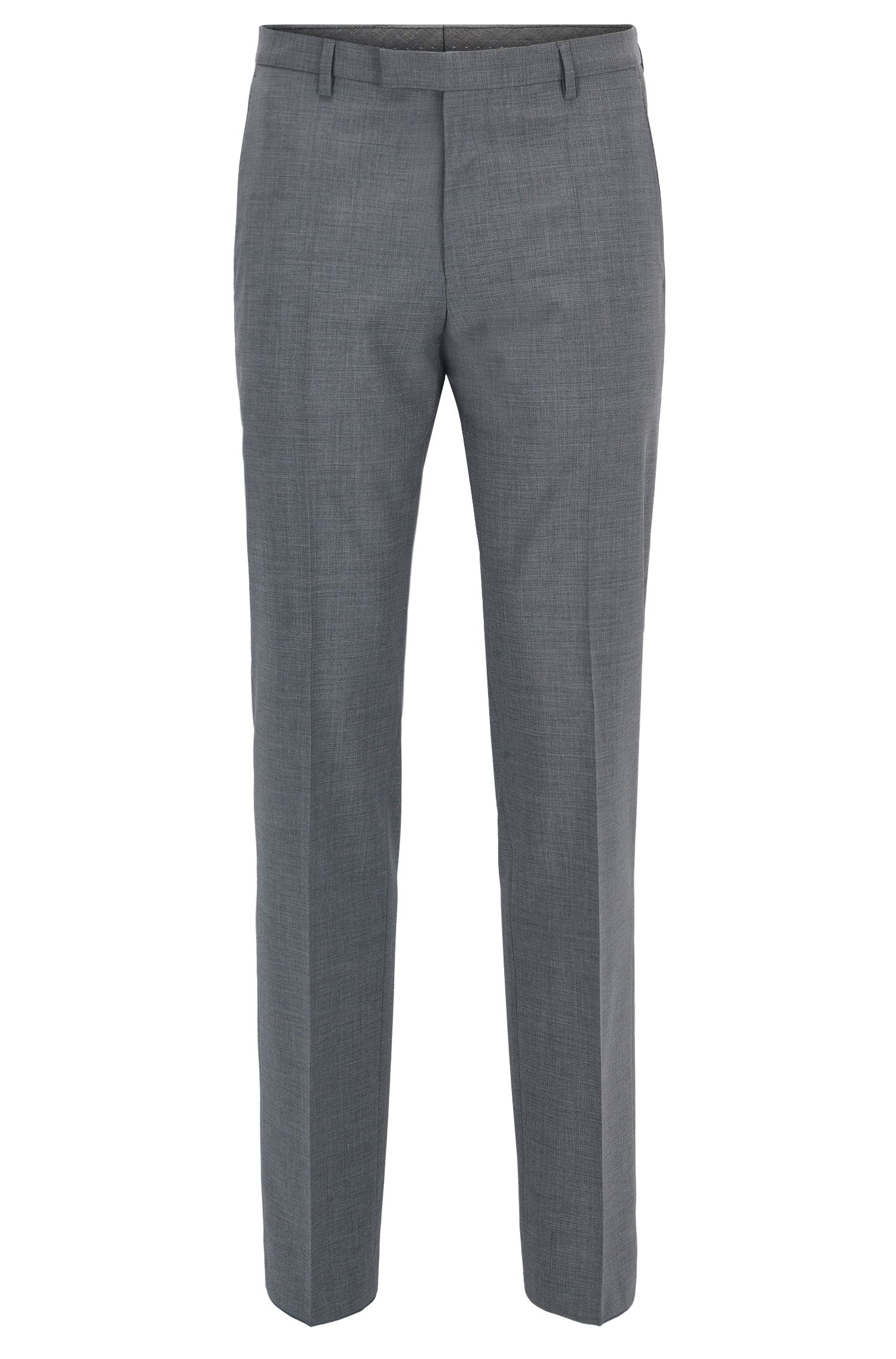 Virgin Wool Cashmere Dress Pant, Regular Fit | Leenon, Grey