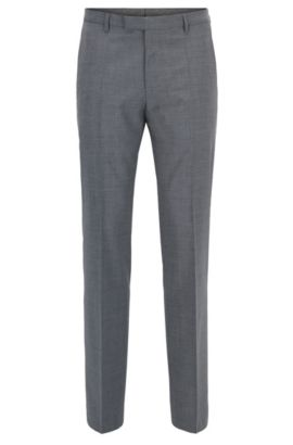 Virgin Wool Cashmere Dress Pant, Regular Fit | Leenon, Grey