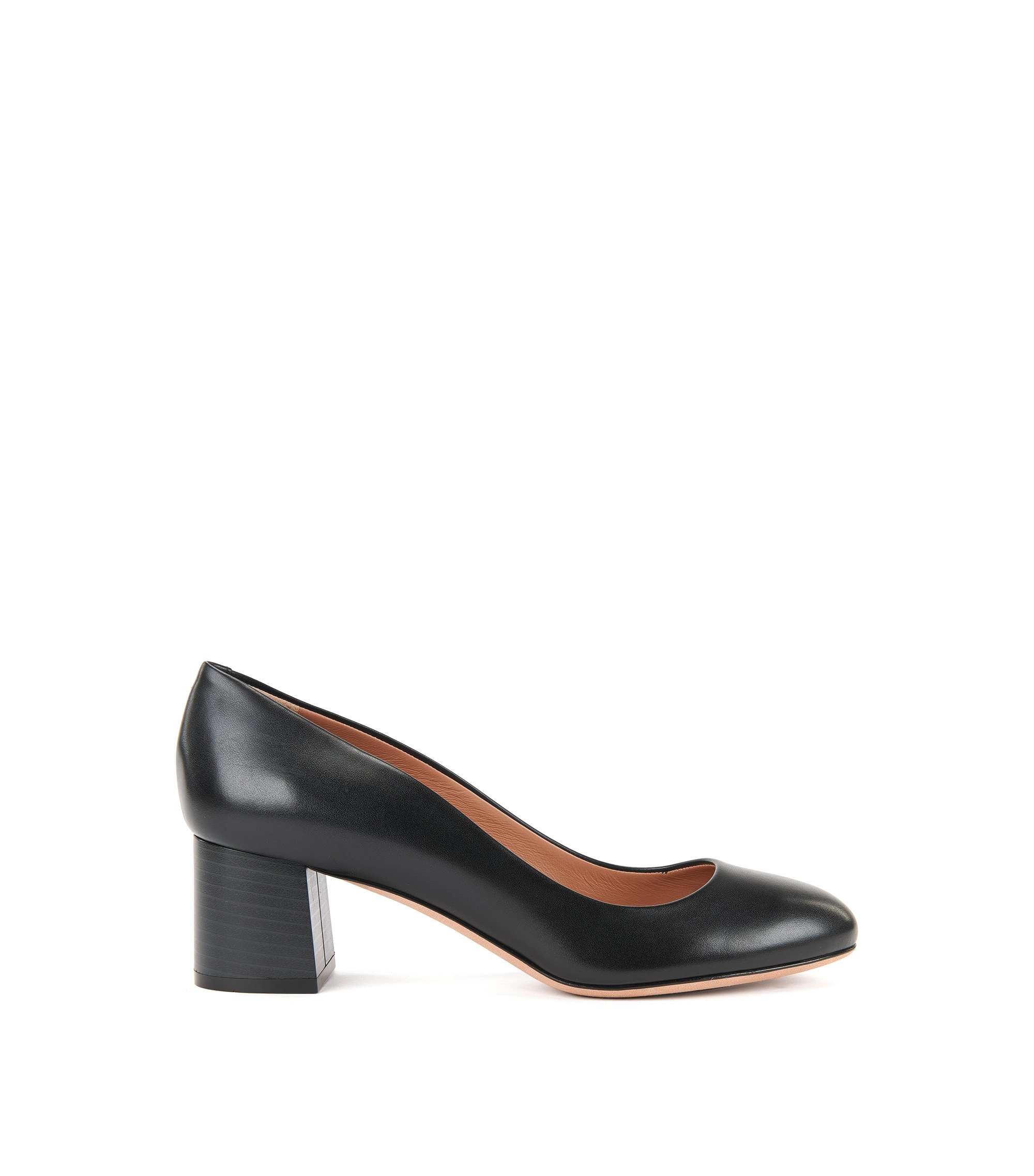 Leather Low-Heel Pump | Farah, Black