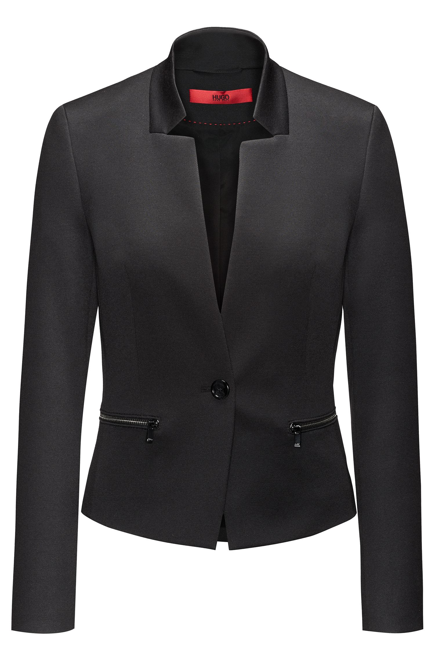 Cotton Blend Blazer | Abaya, Black