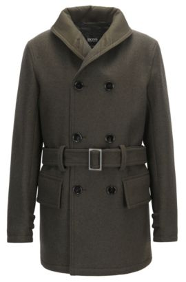 Virgin Wool Cashmere Double-Breasted Coat | Mackinaw, Open Green