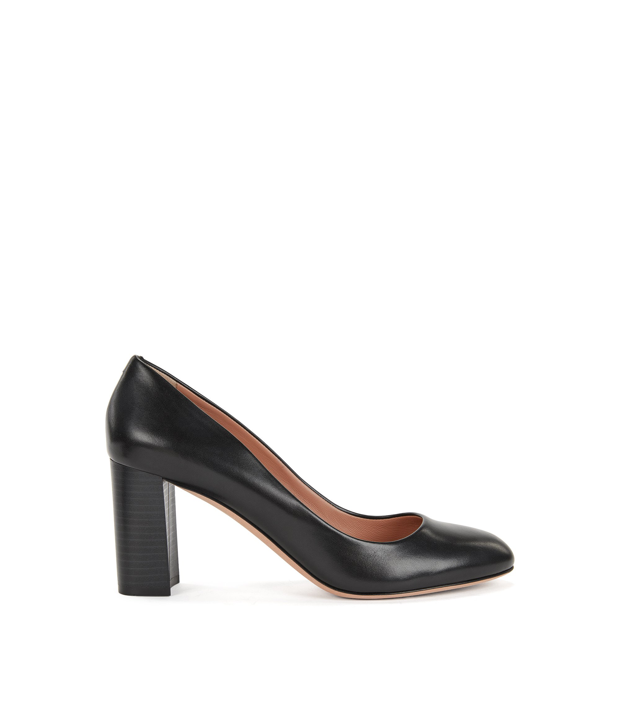 Leather Mid-Heel Pump | Farah, Black